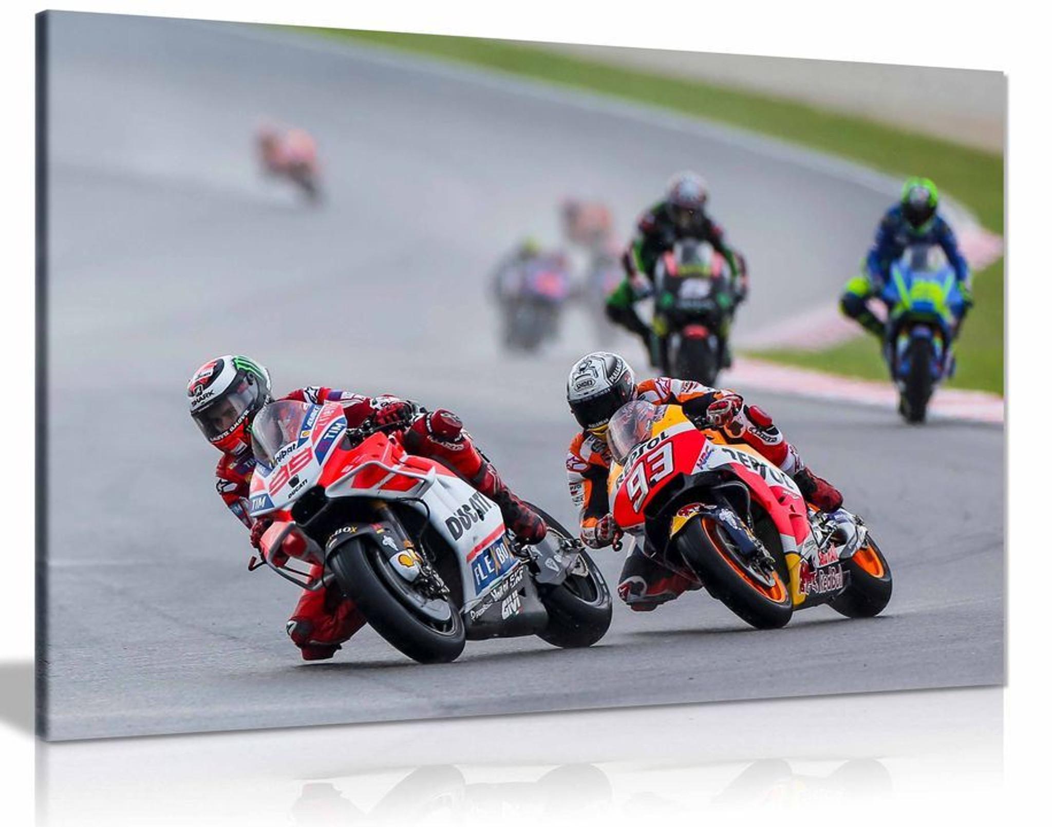 Jorge Lorenzo & Marc Marquez Moto GP Canvas Wall Art Picture Print Home Decor