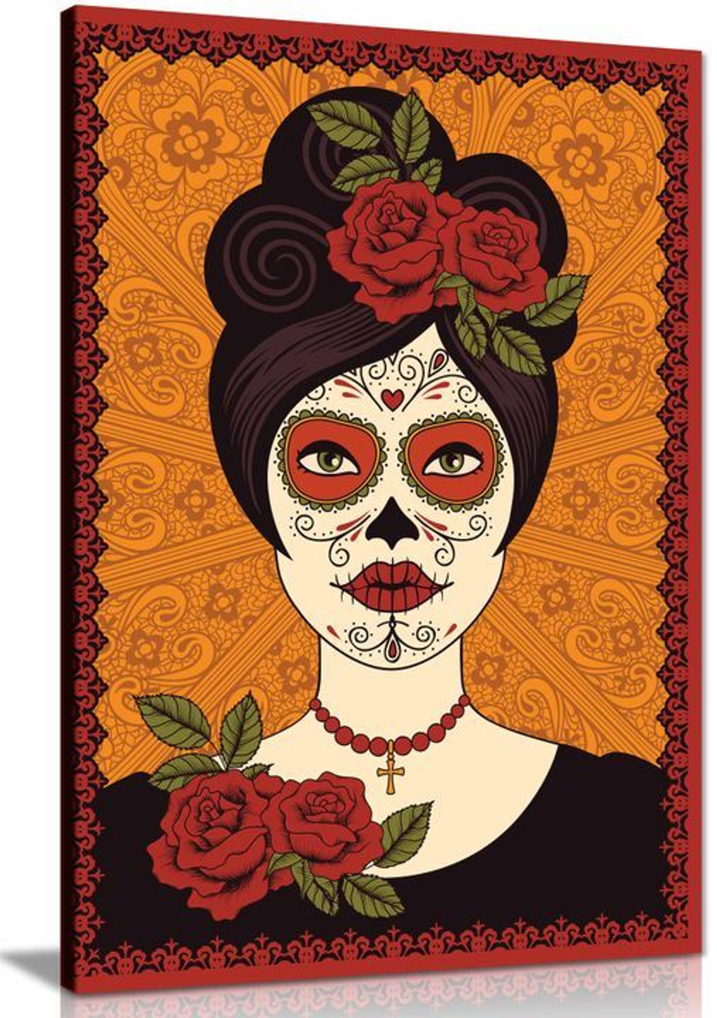 Mexican Skull Girl Canvas Wall Art Picture Print Home Decor