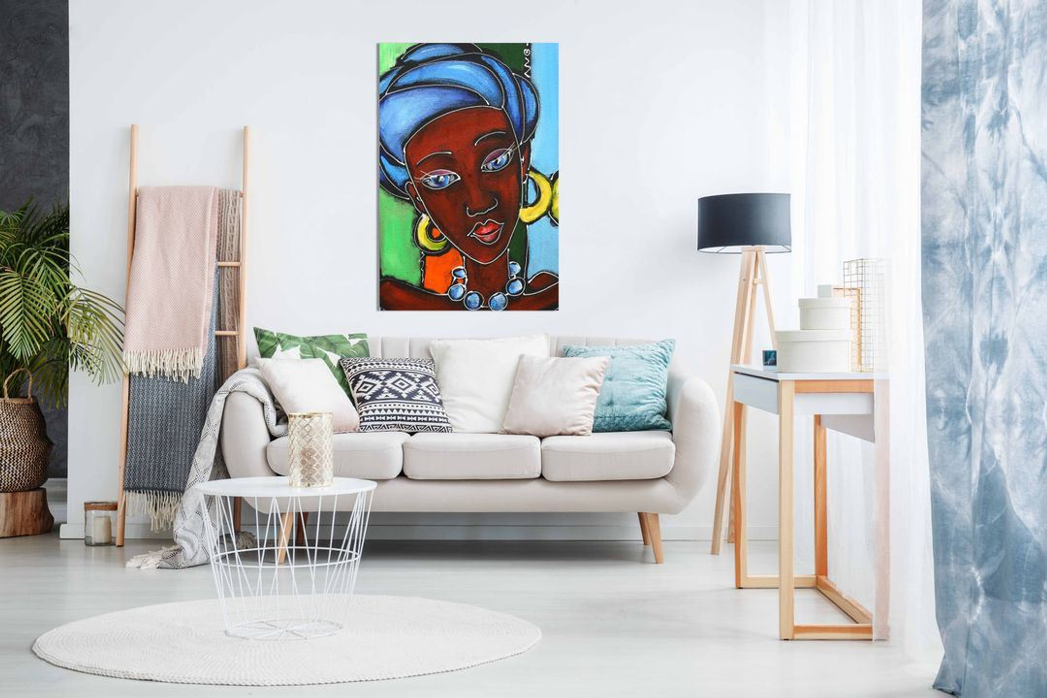 Modern Abstract African Art Lady in Traditional Clothes Canvas Wall Art Picture Print Home Decor