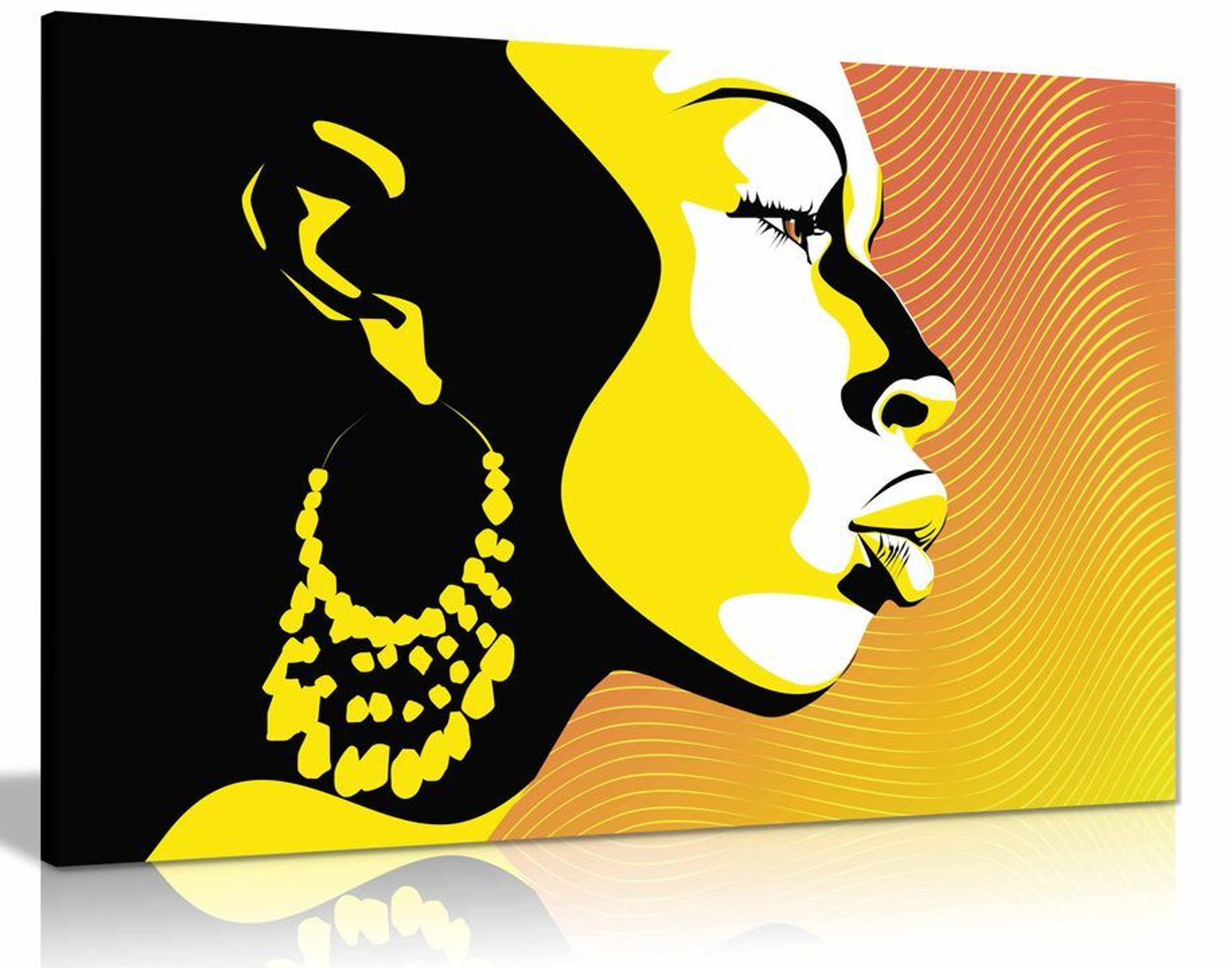 Modern African Art Silhouette Yellow Black Canvas Wall Art Picture Print Home Decor - Panther Print