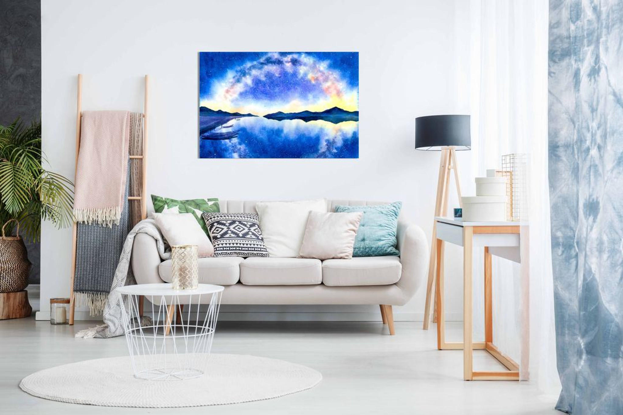 Starry Night With Galaxy Watercolour Blue Canvas Wall Art Picture Print Home Decor