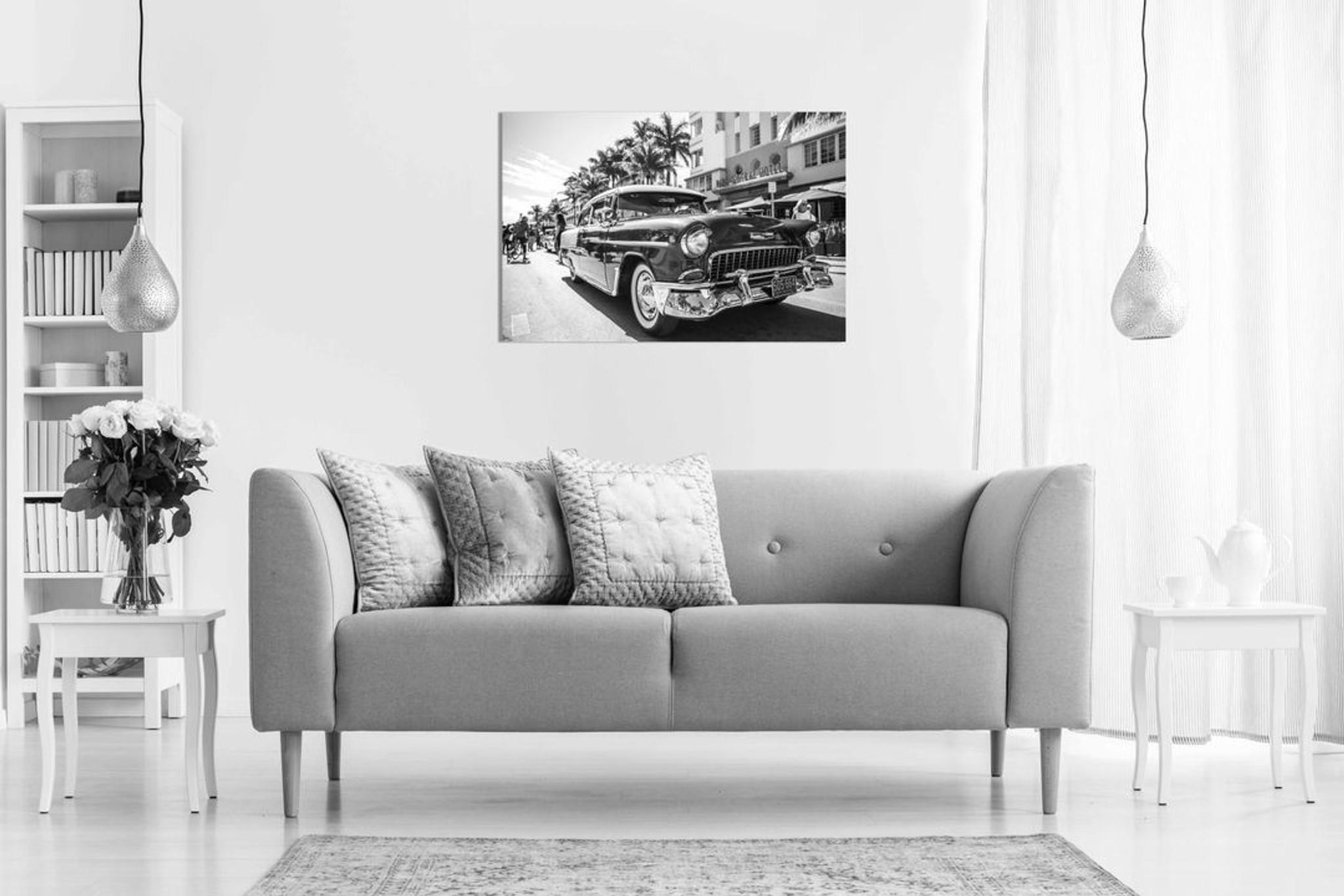 Vintage Retro Chevrolet Black & White Canvas Wall Art Picture Print Home Decor