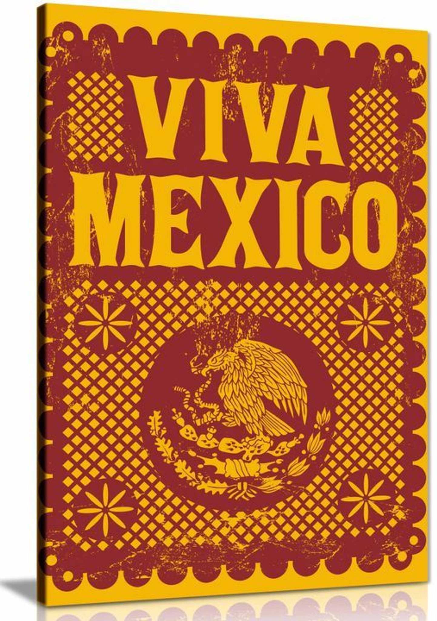 Viva Mexico Red Yellow Canvas Wall Art Picture Print Home Decor