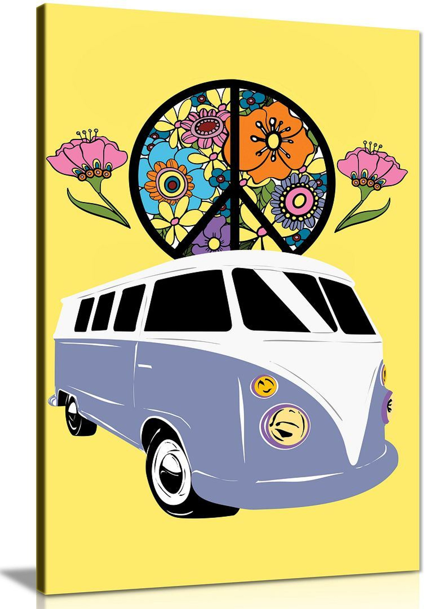 Classic VW Campervan Peace Retro Garage Canvas Art Canvas Wall Art Picture Print Home Decor