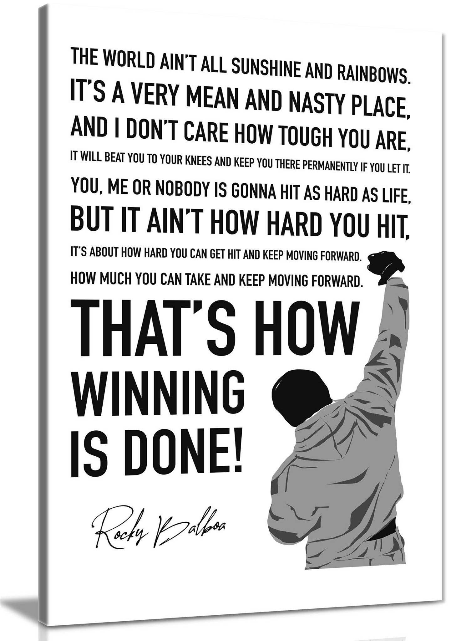 Rocky Canvas Print Modern Hope Quote Canvas Wall Art Picture Print Home  Decor