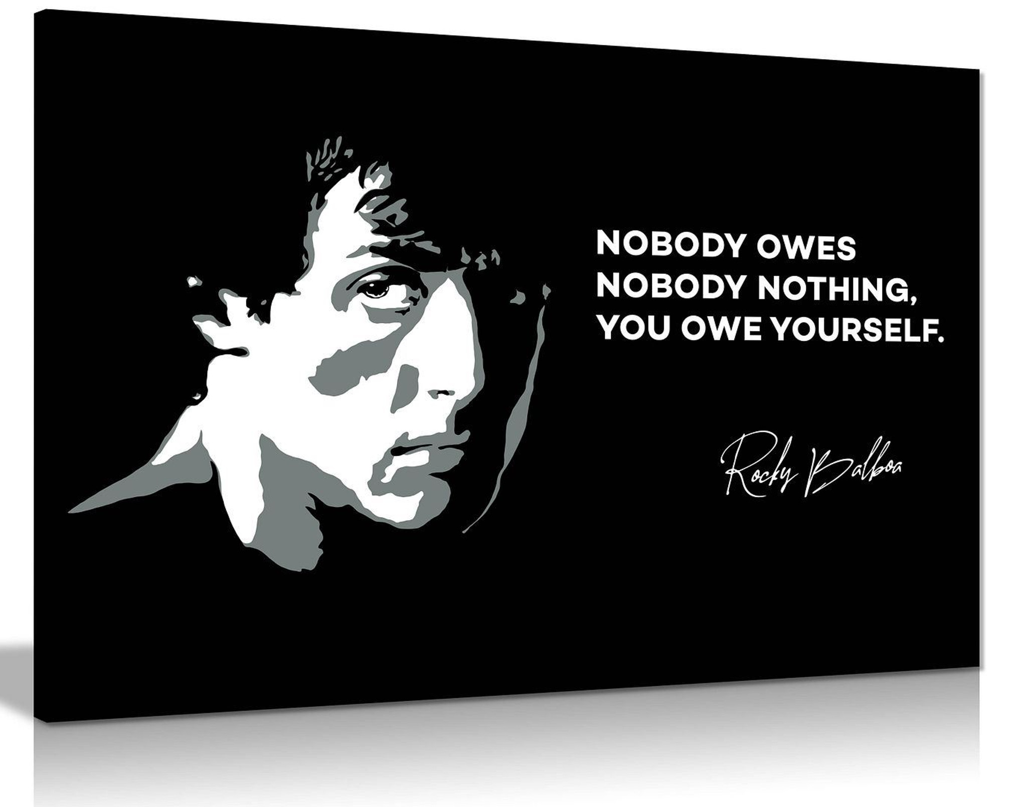 Rocky Canvas Print You Owe Yourself Quote Black & White Canvas Wall Art Picture Print Home  Decor