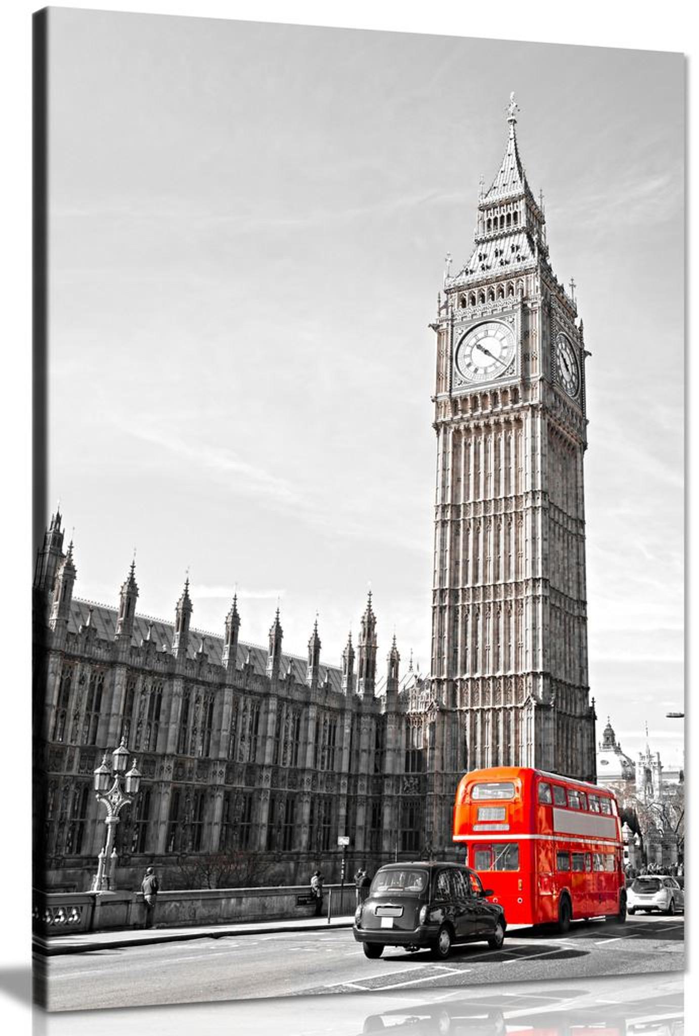 Big Ben London Bus Black White Red Home Canvas
