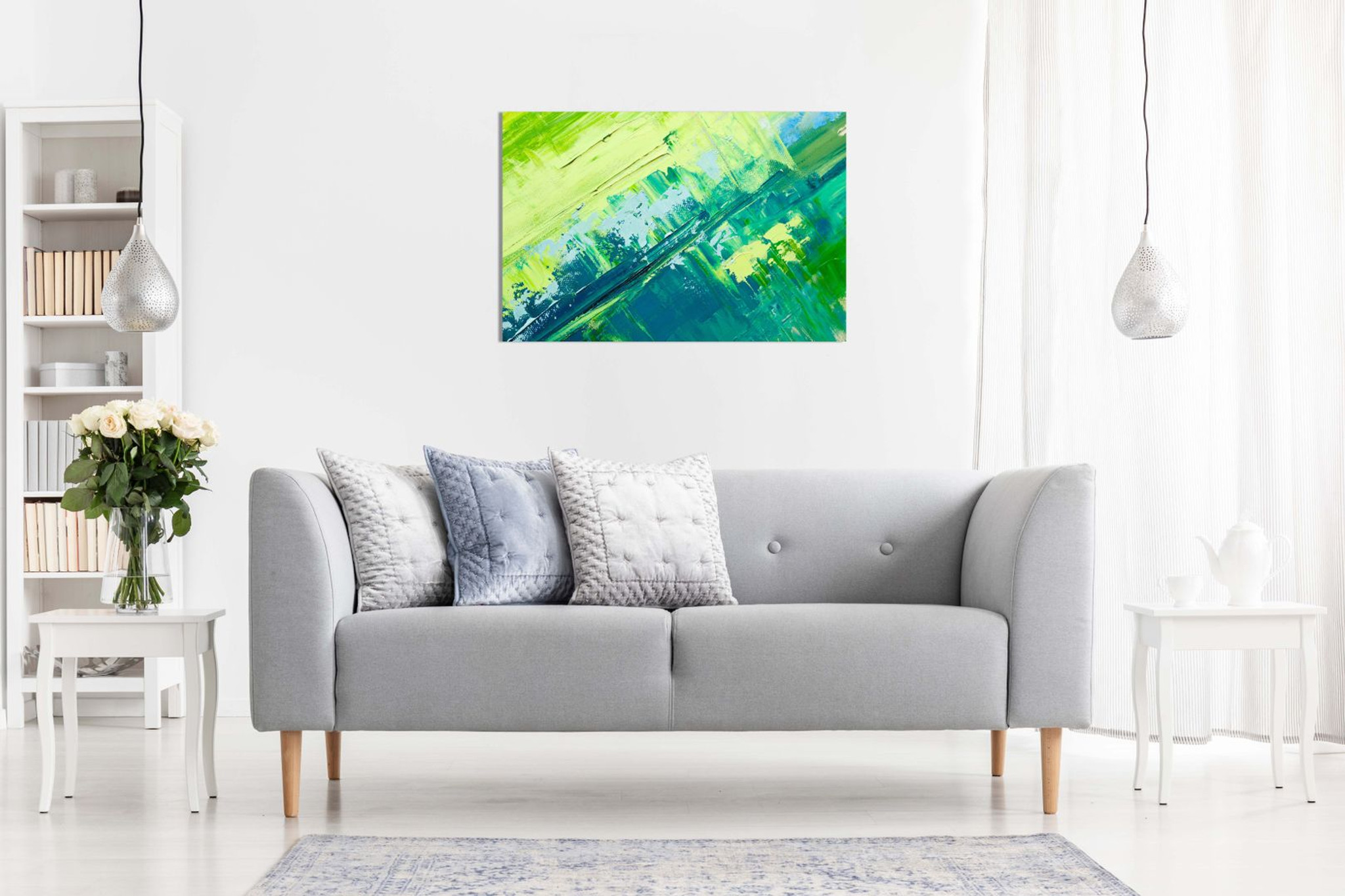 Abstract Oil Painting Green Yellow Canvas