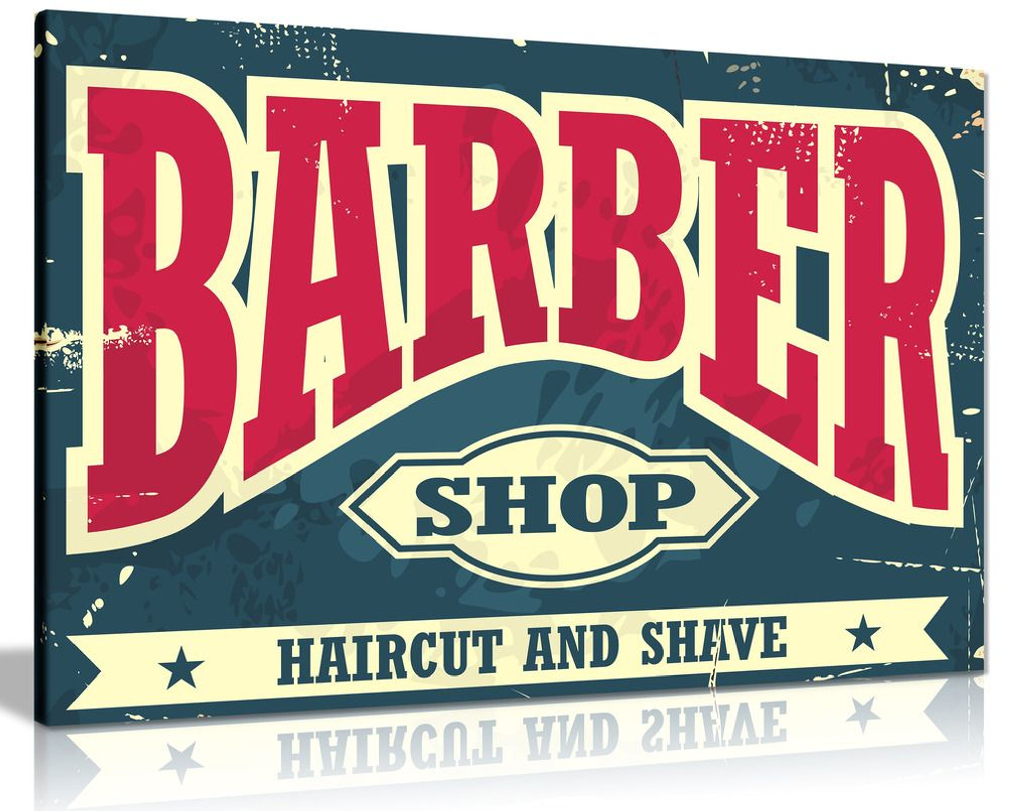 Barber Shop Decor Sign Haircut & Shave Canvas