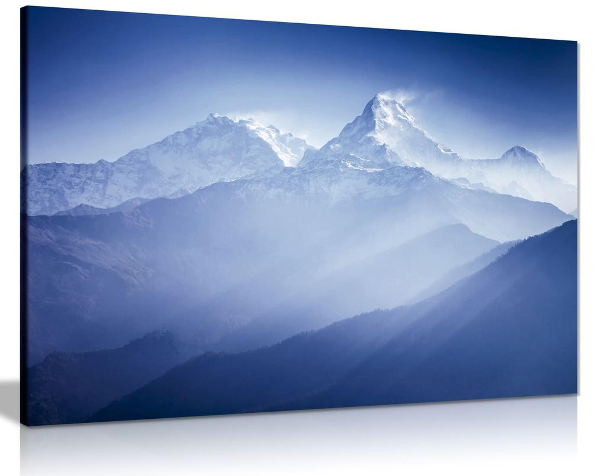 Blue Wall Art Annapurna Mountains Landscape Canvas
