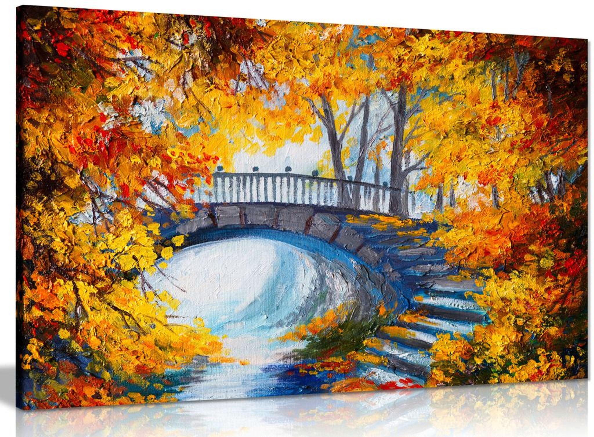 Abstract Oil Painting Autumn Forest Bridge Canvas
