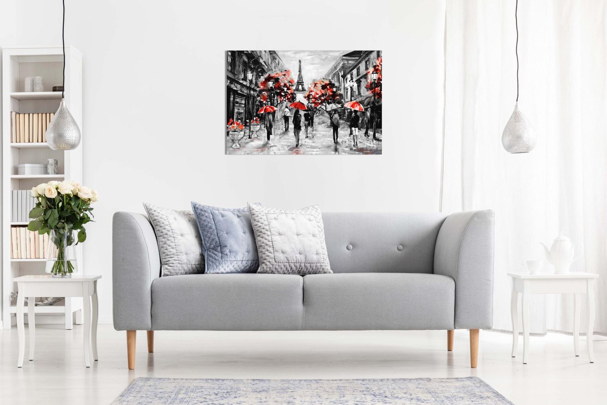 Modern Contemporary Black White Red Paris Eiffel Tower Canvas