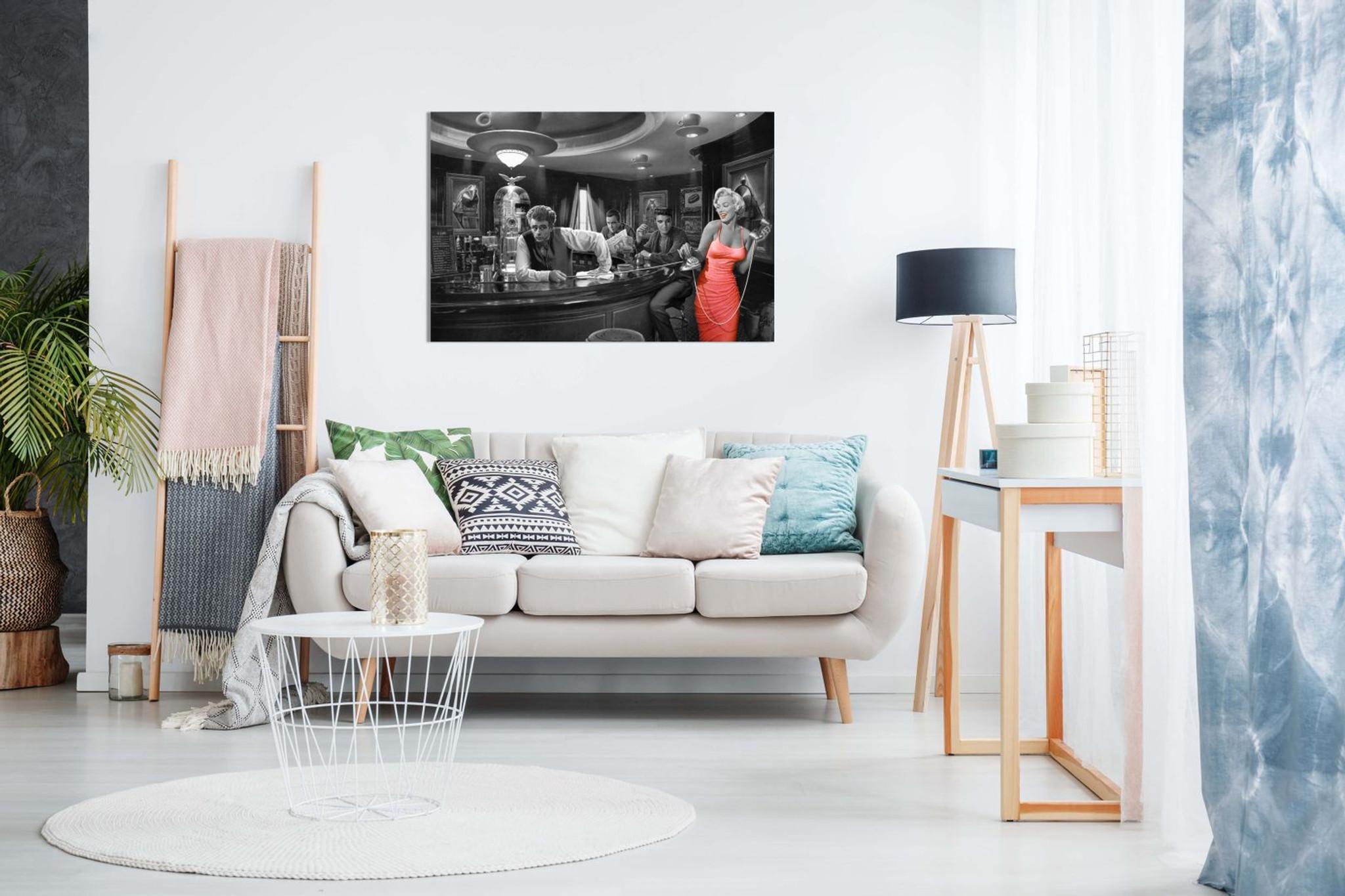 36x24in Marilyn Monroe Elvis Presley James Dean Red Dress Black /& White Canvas Wall Art Picture Print