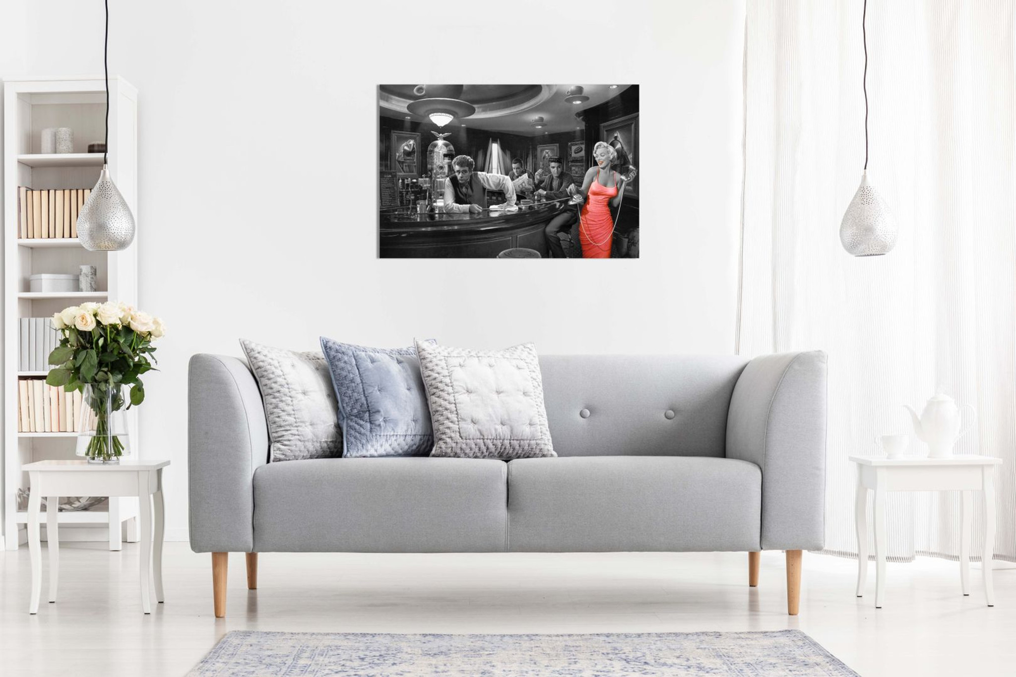 Marilyn Monroe Elvis Presley James Dean Red Dress Black & White Canvas