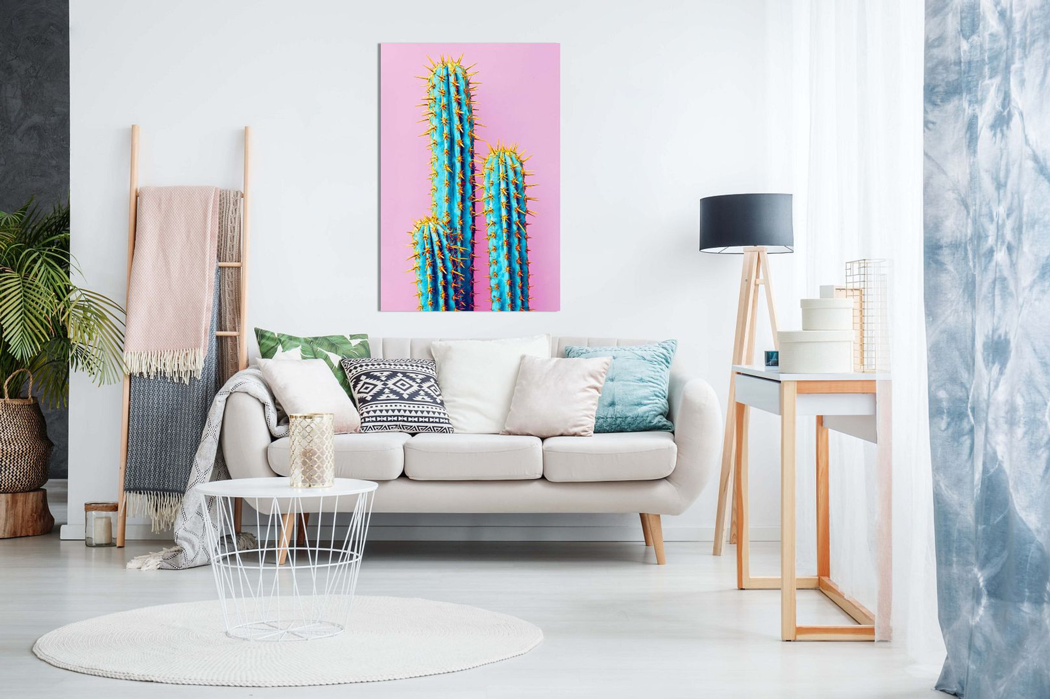 Pink Abstract Contemporary Modern Cactus Canvas