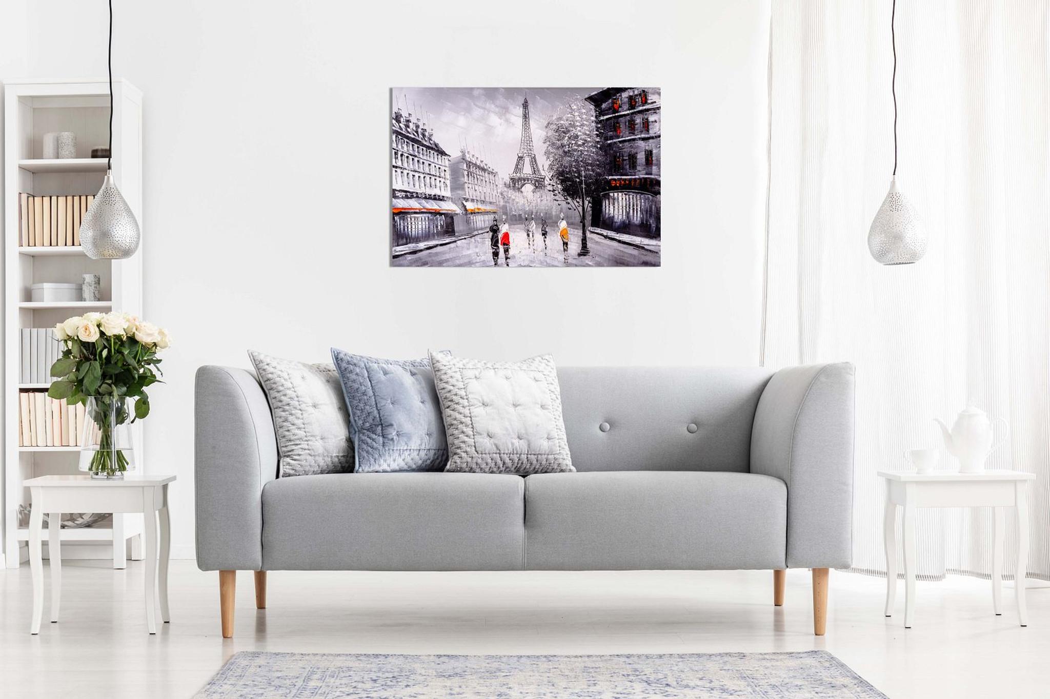 Paris Landscape Black White Red Canvas