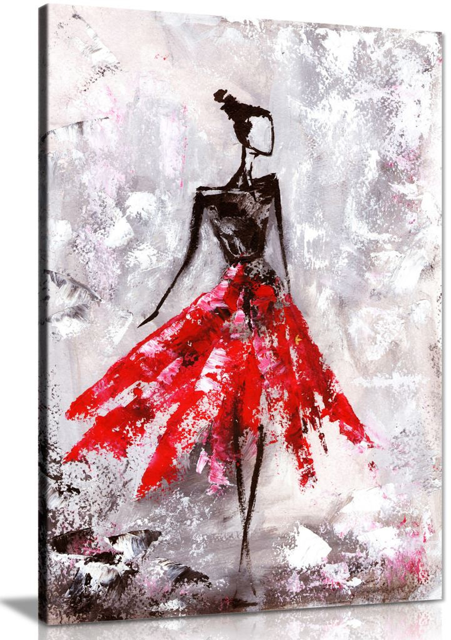 Black & White Red Ballerina Painting Canvas