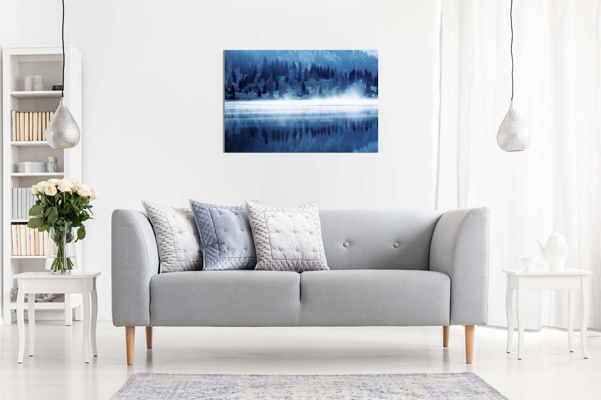 Blue Wall Art Glacial Lake Canvas