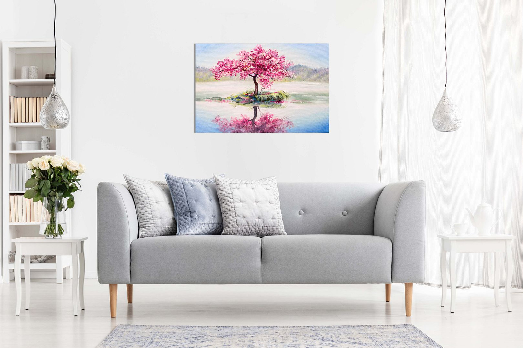 Japanese Oriental Cherry Tree on Lake Painting Canvas