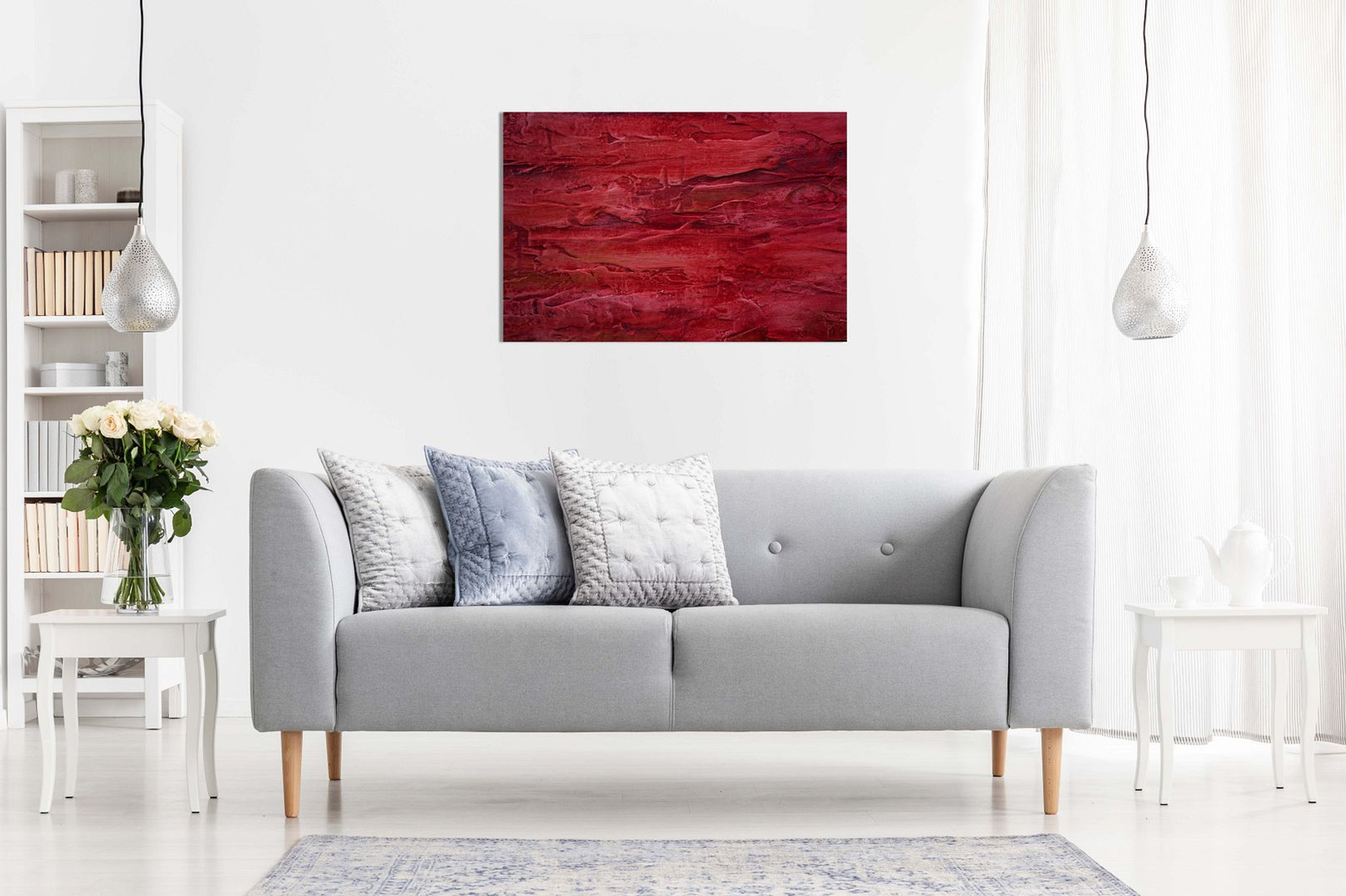 Abstract Red Modern Art Canvas
