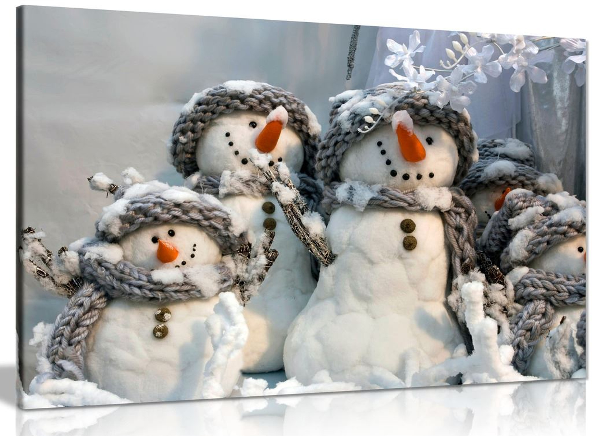 Family Of Snowmen Christmas Winter Canvas