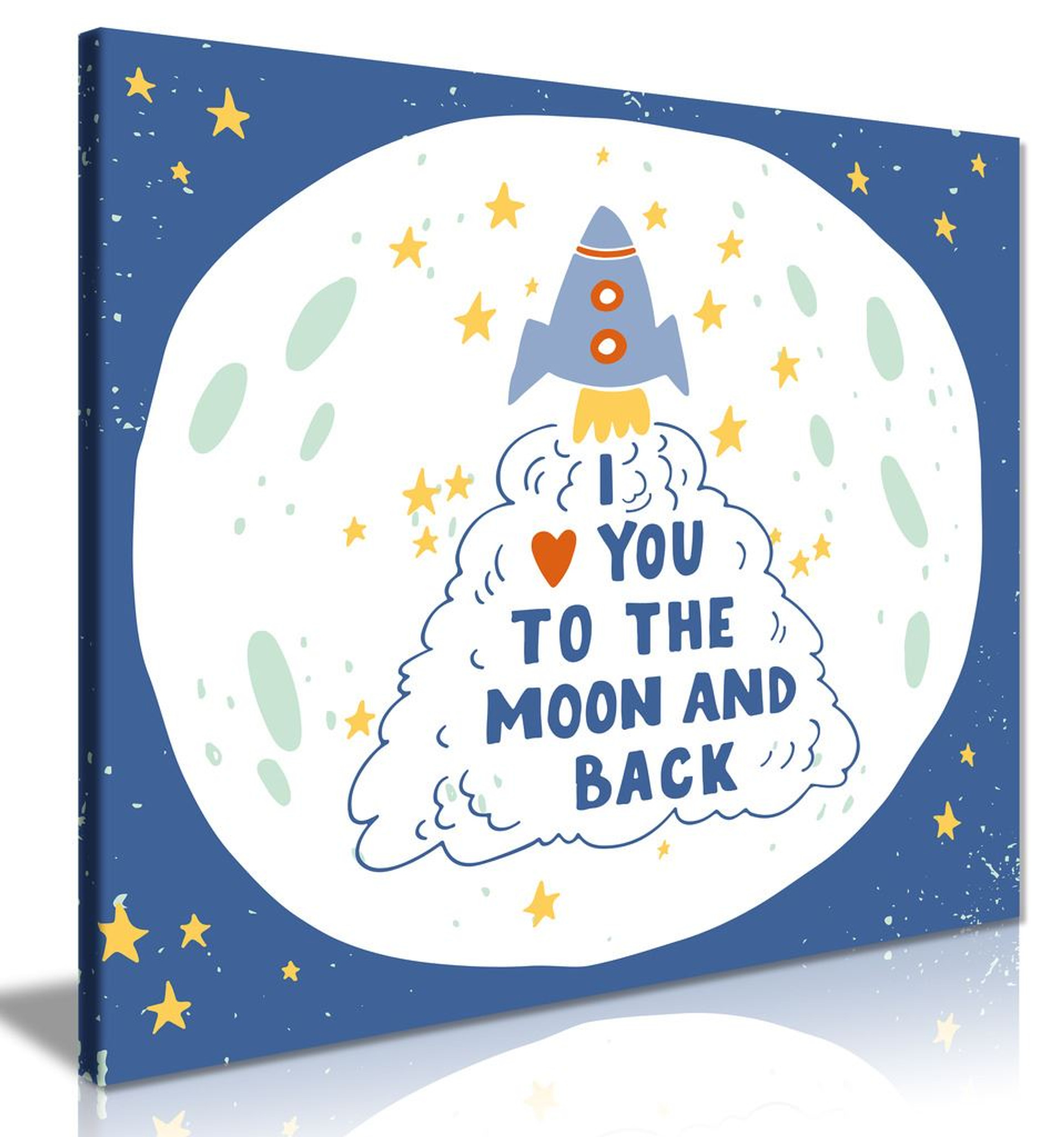 I Love You To The Moon & Back Quote Rocket Canvas