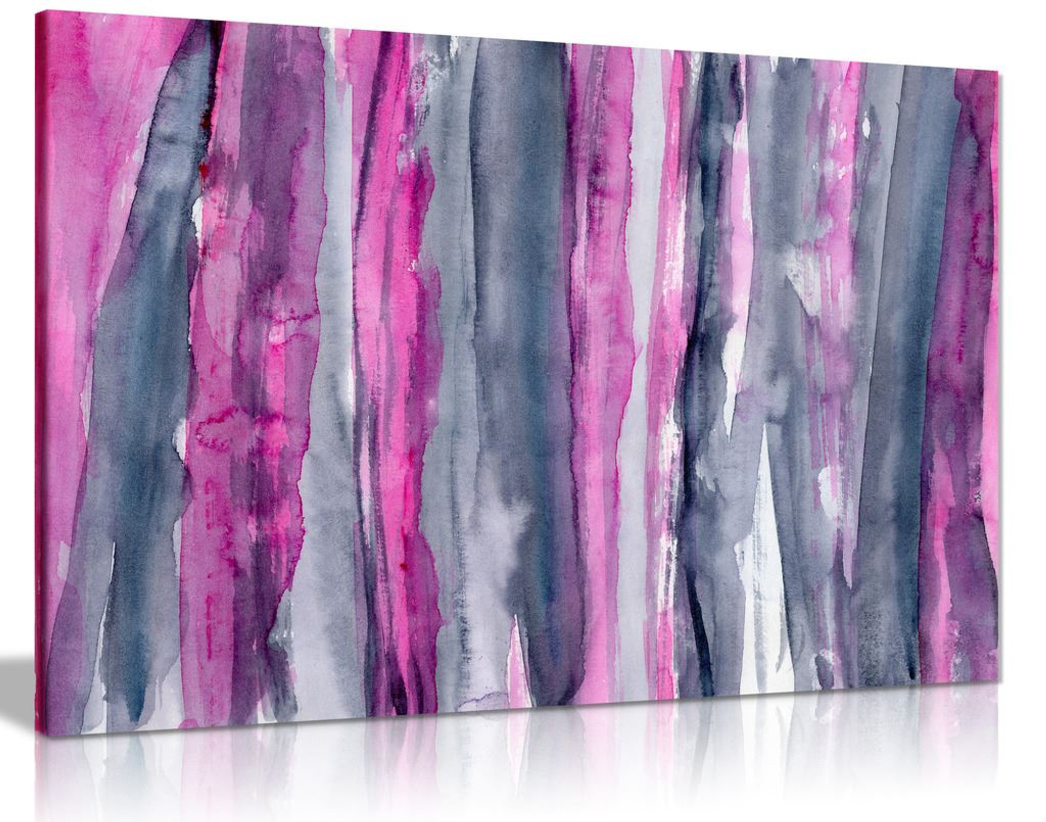 Abstract Modern Pink & Grey Canvas