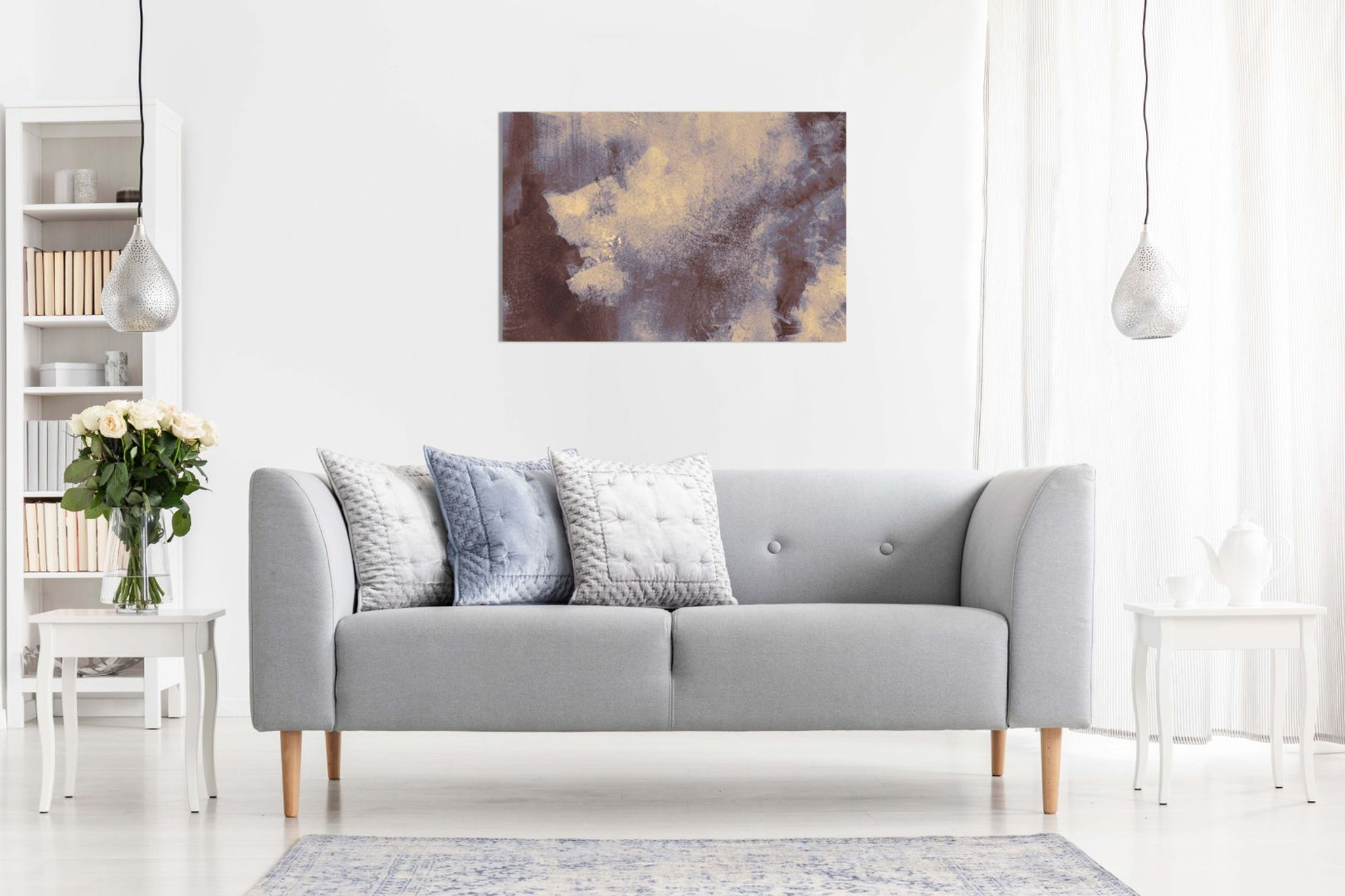 Abstract Painting Grey Canvas