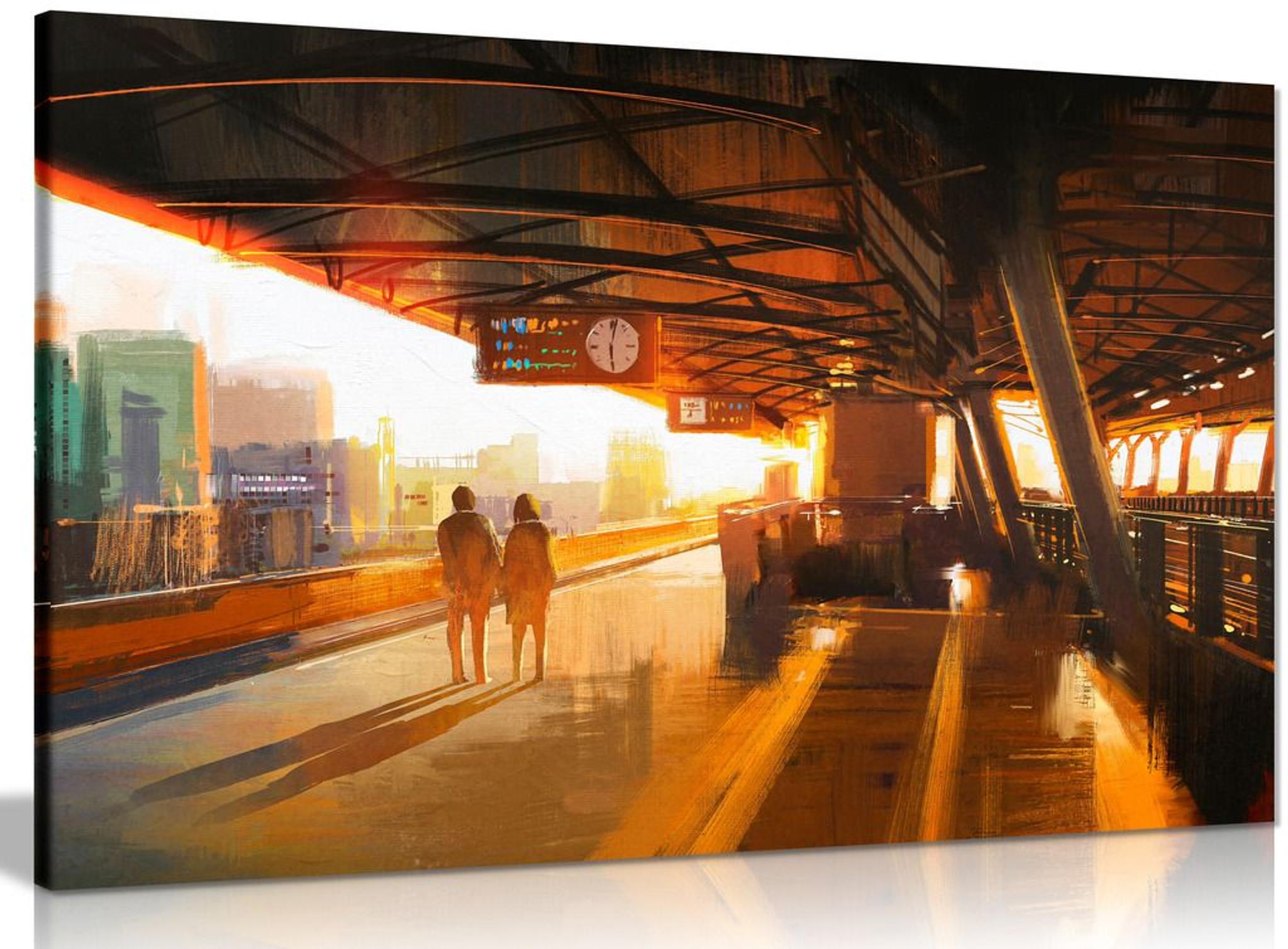 Wall Art Decor Couple At Train Station Canvas