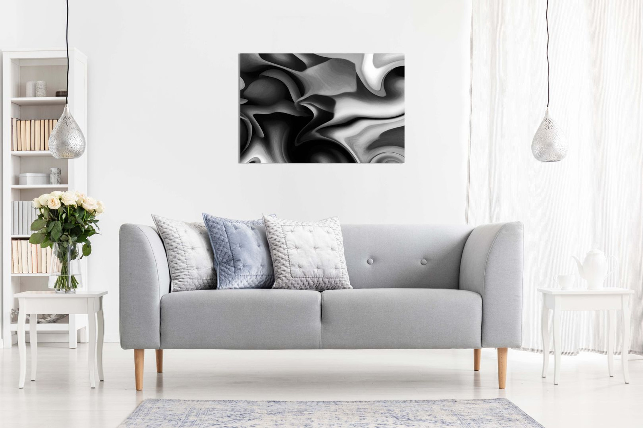 Abstract Grey Black And White Canvas