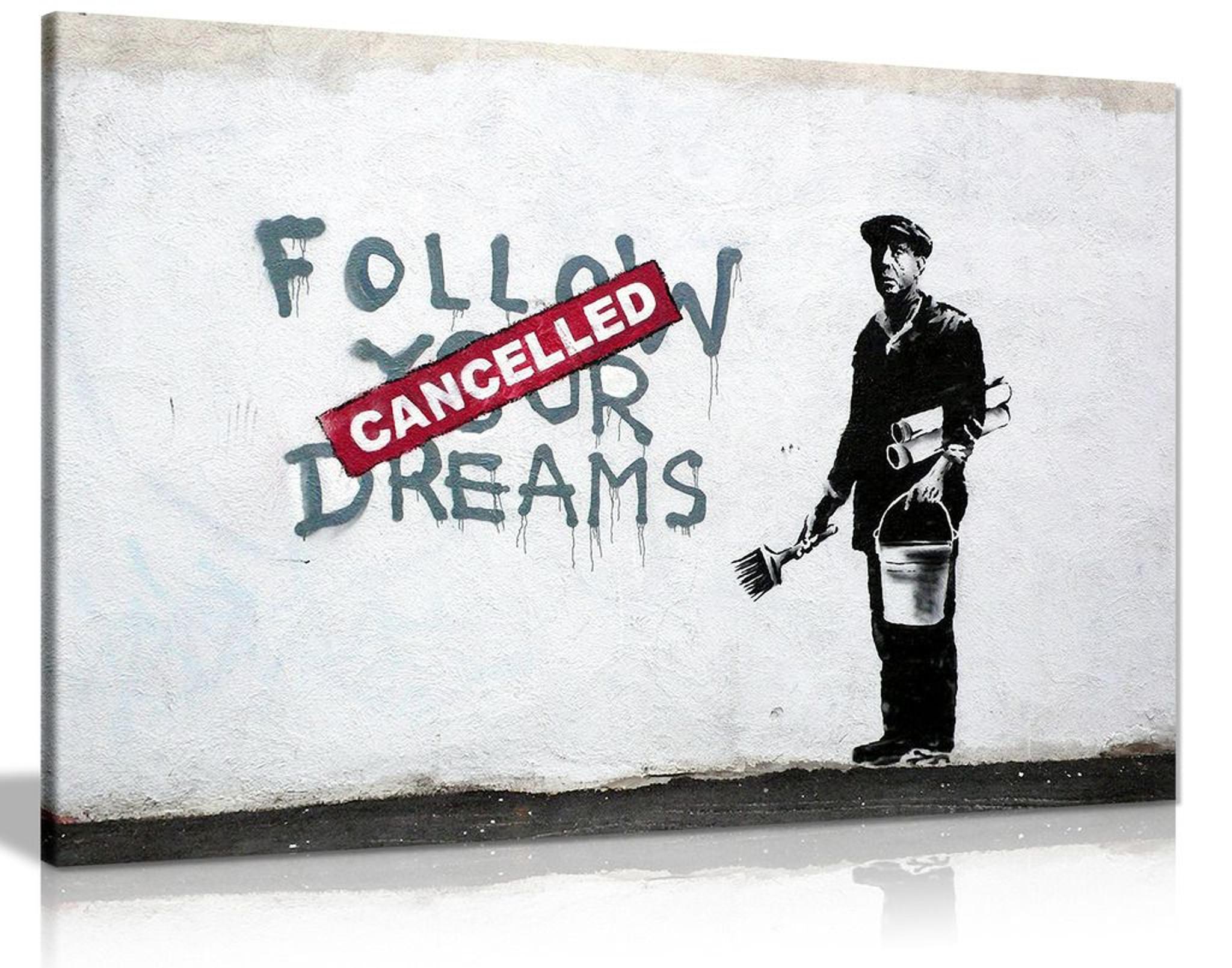Banksy Follow Your Dreams Graffiti Canvas