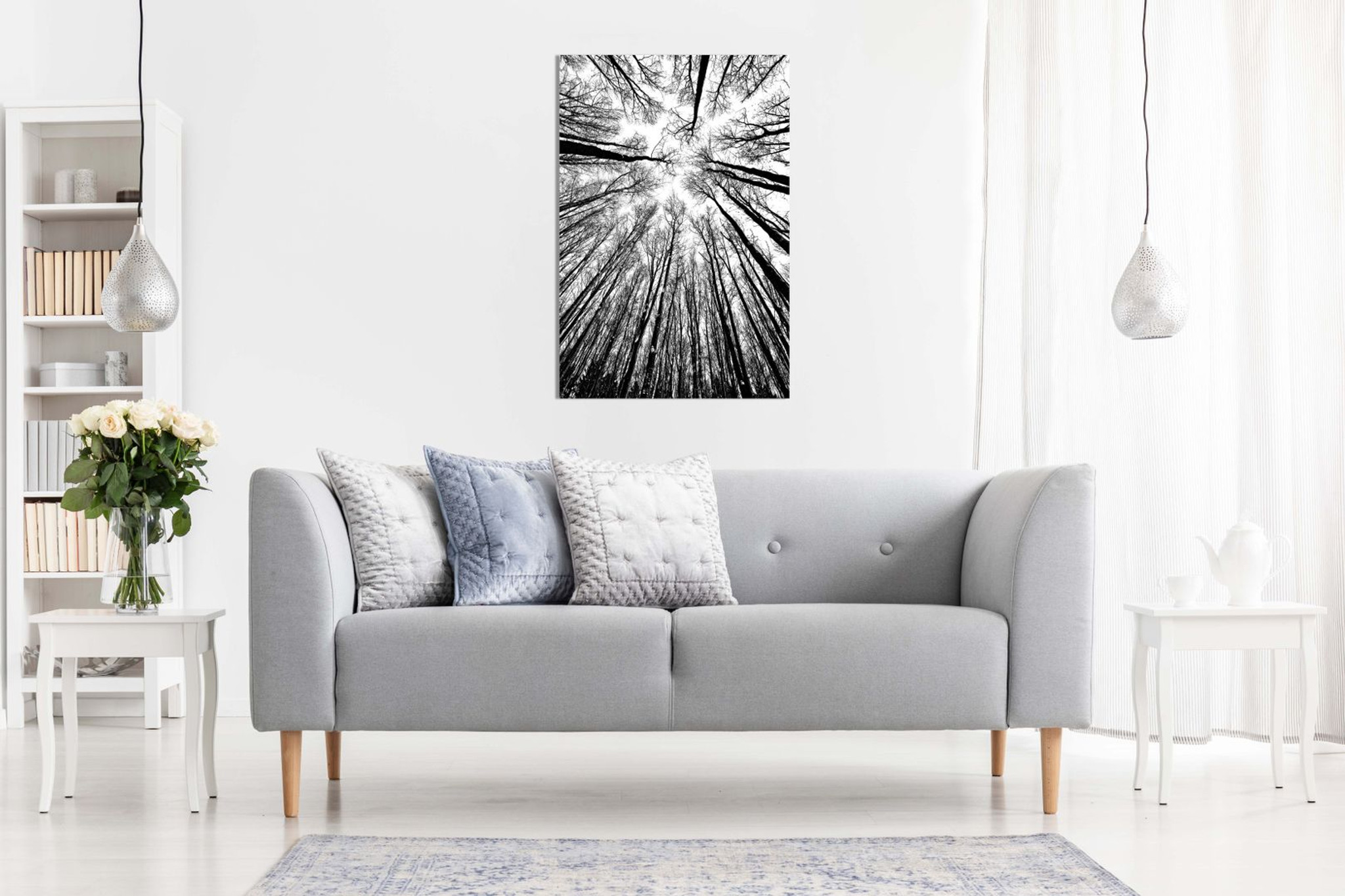 Abstract Modern Art Home Black & White Trees Canvas
