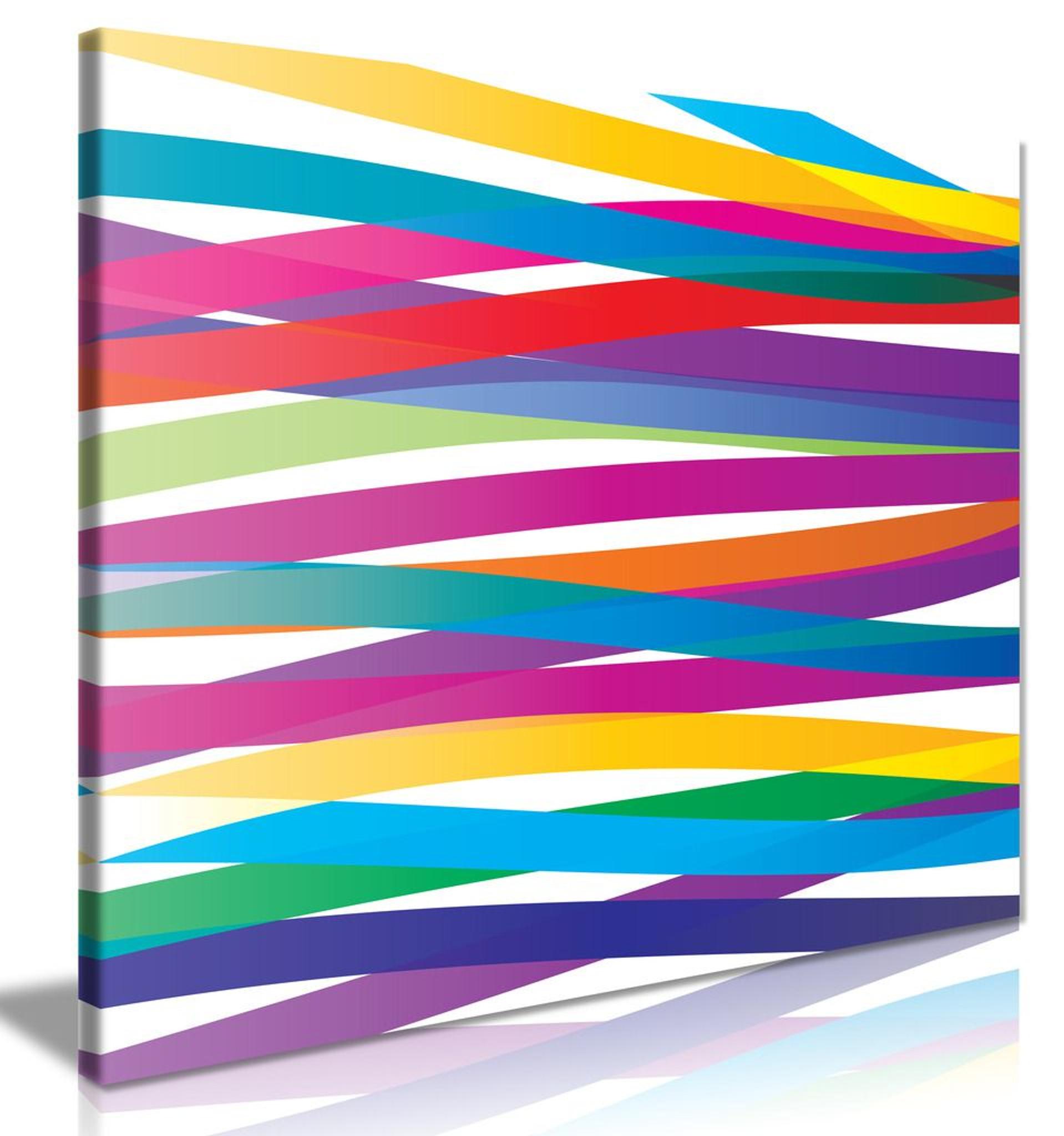 Abstract Modern Art Vivid Colourful Ribbons Canvas