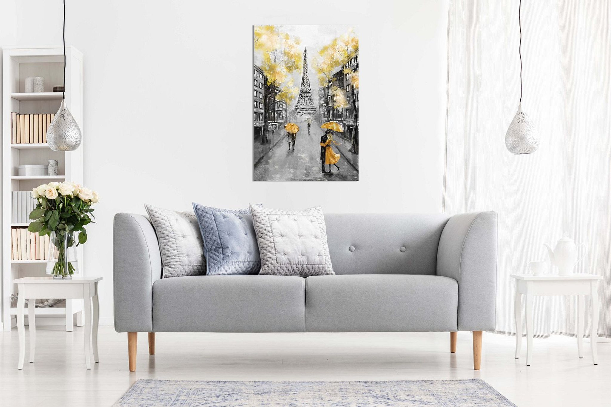 Yellow Black & White Paris Painting Canvas