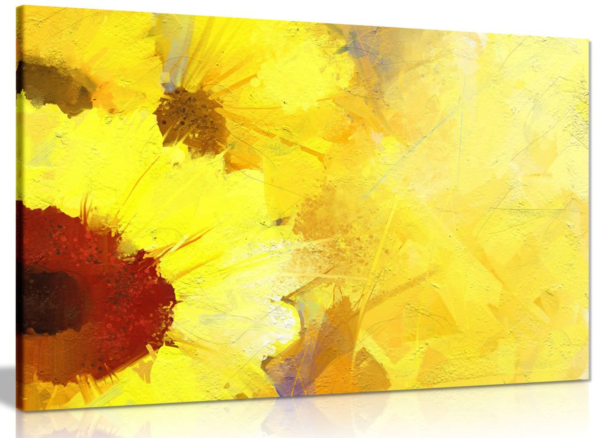 Abstract Modern Contemporary Yellow Sunflower Painting Canvas