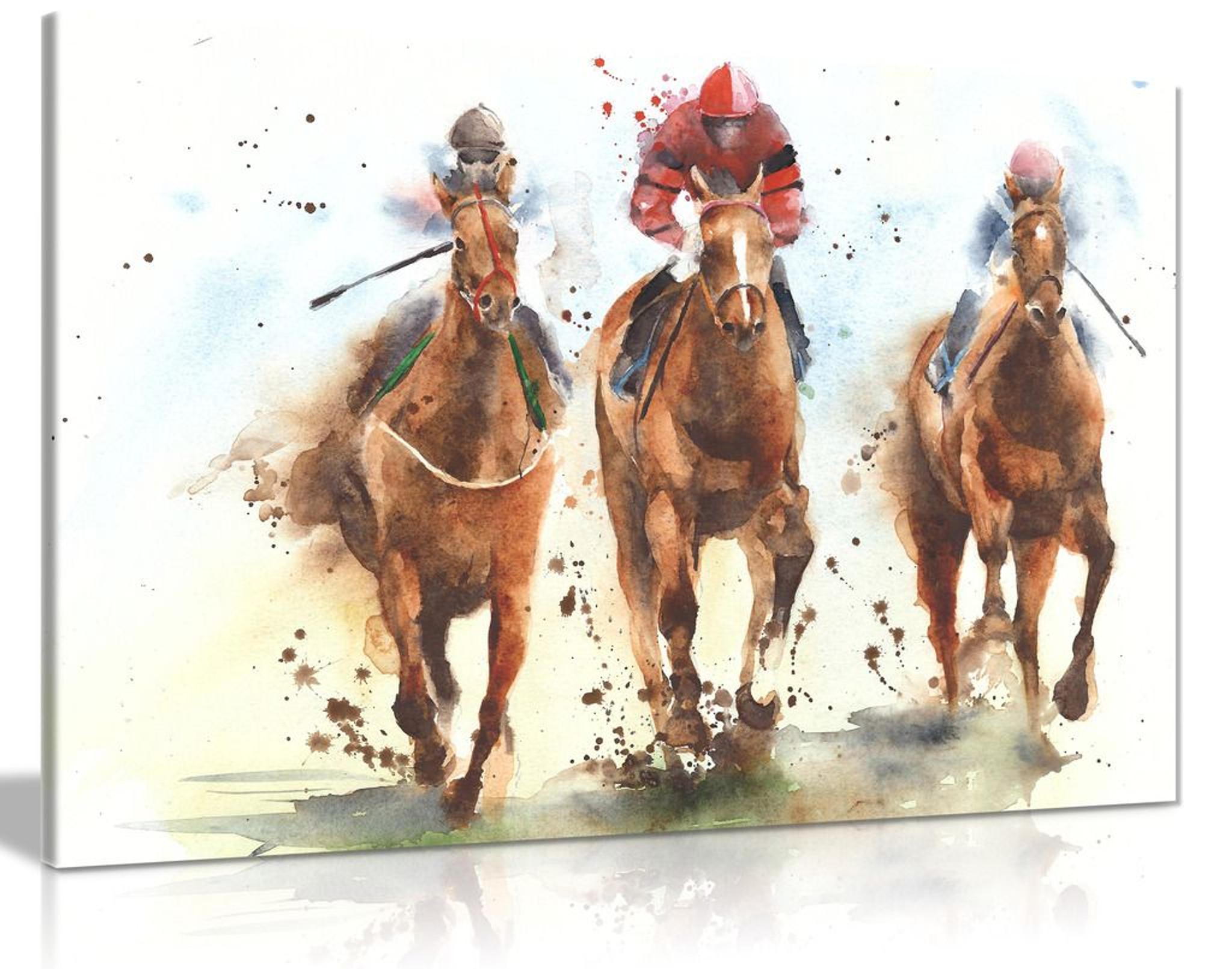 Horse Racing Watercolour Canvas