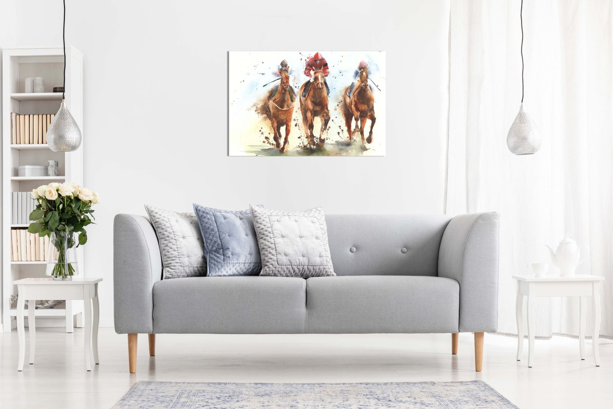 Horse Racing Watercolour Canvas