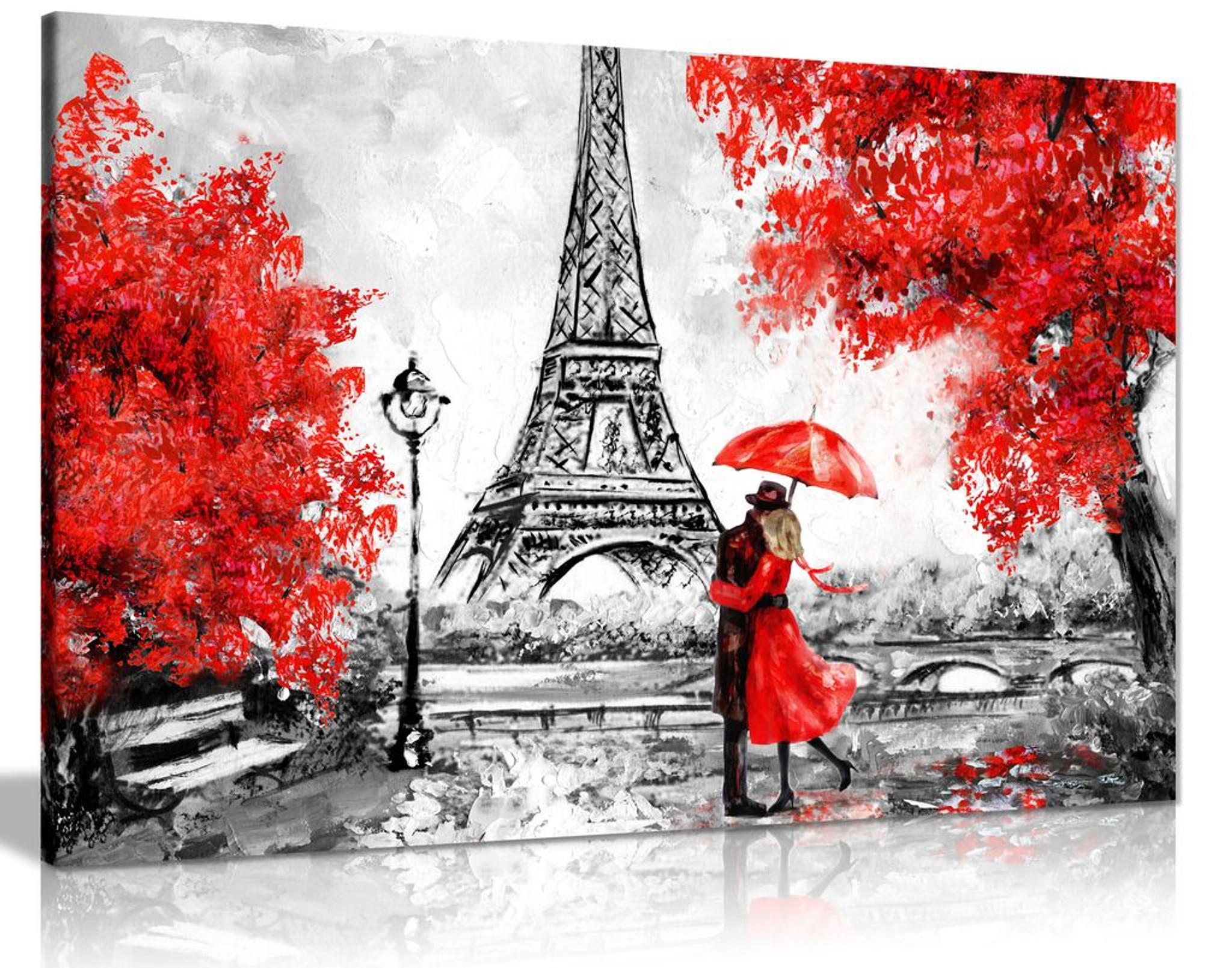 Paris Oil Painting Reproduction Eiffel Tower Red Umbrella Canvas