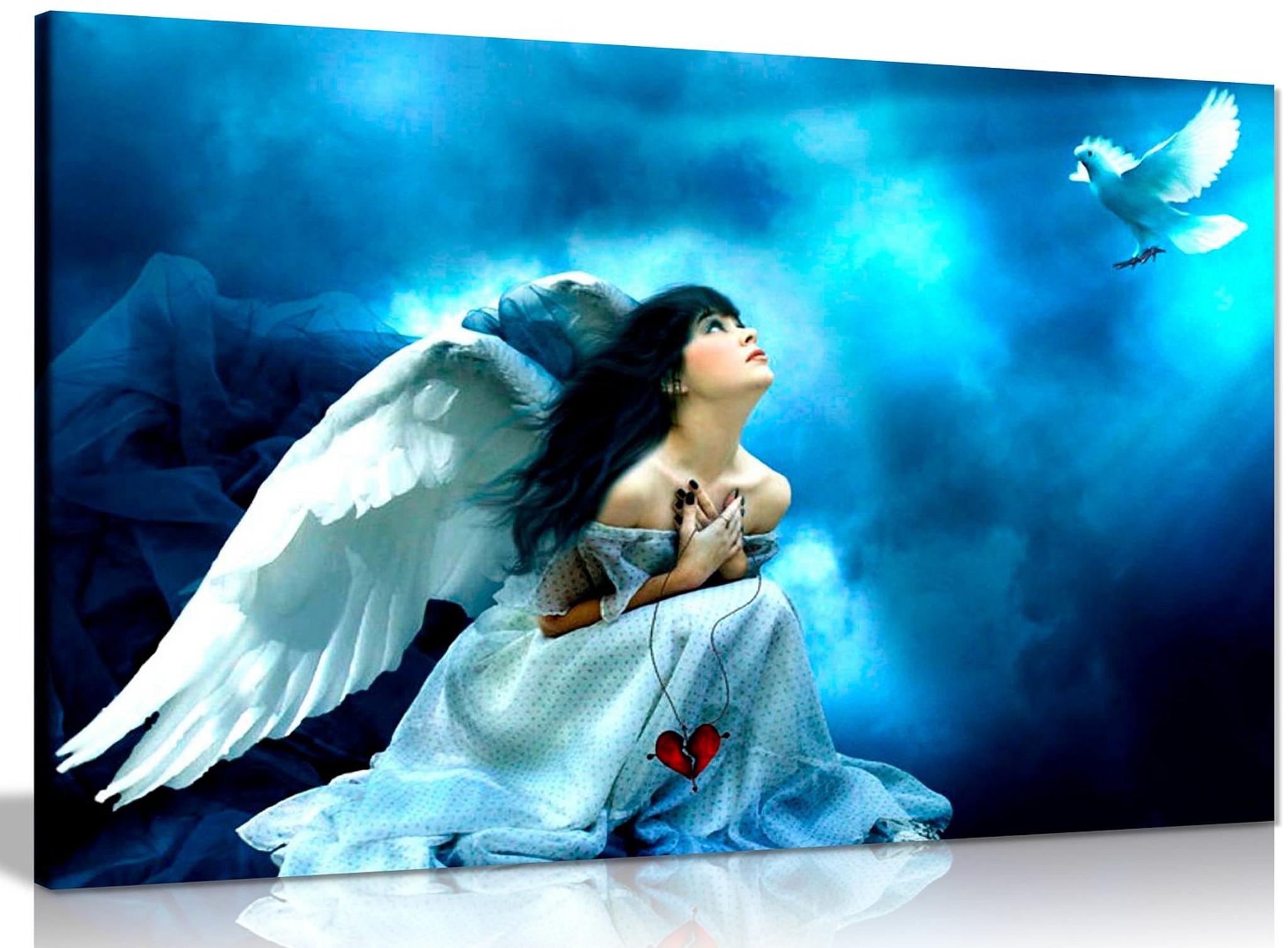 Angel In White Fantasy Canvas