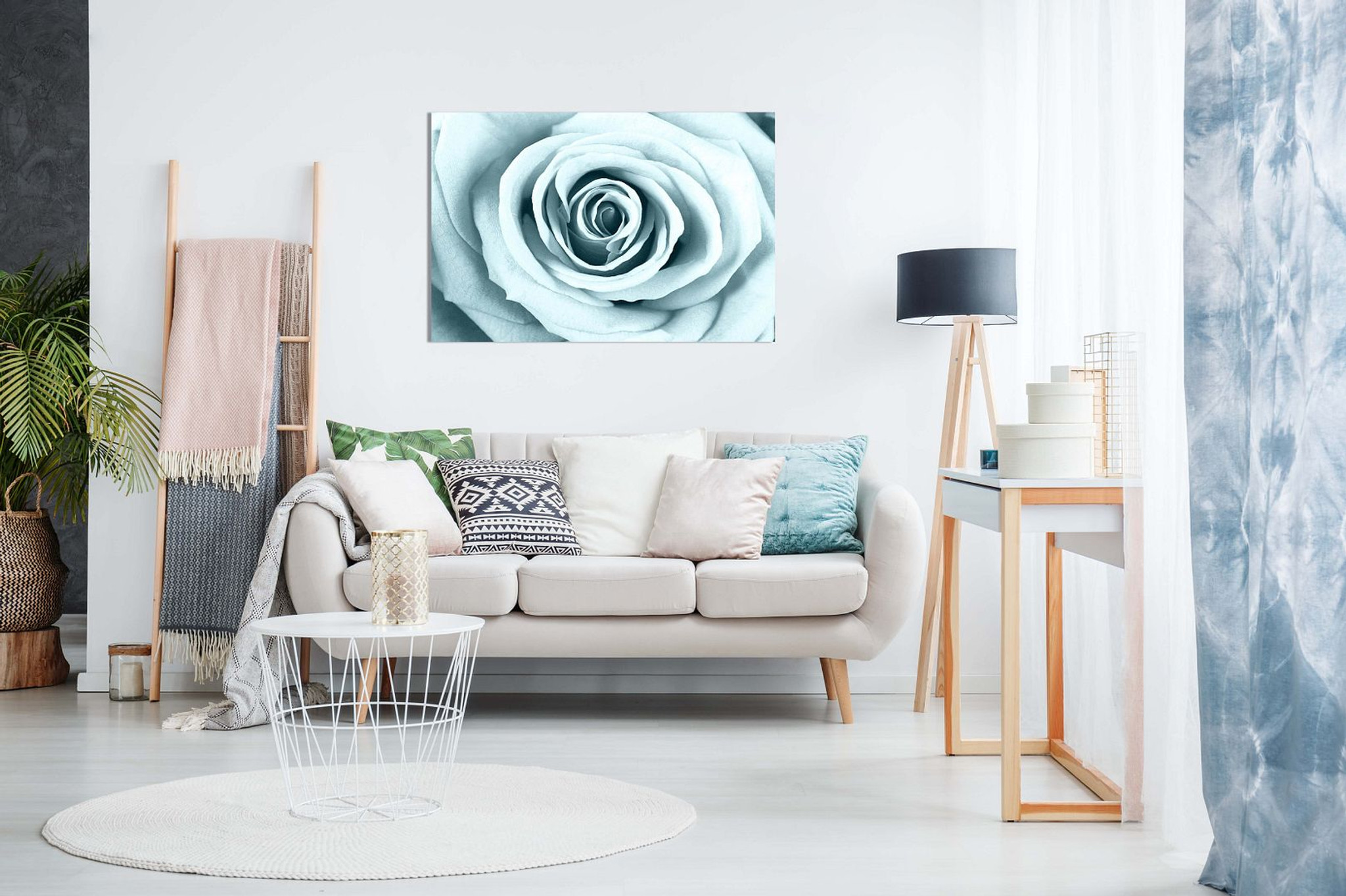 Duck Egg Blue Rose Canvas
