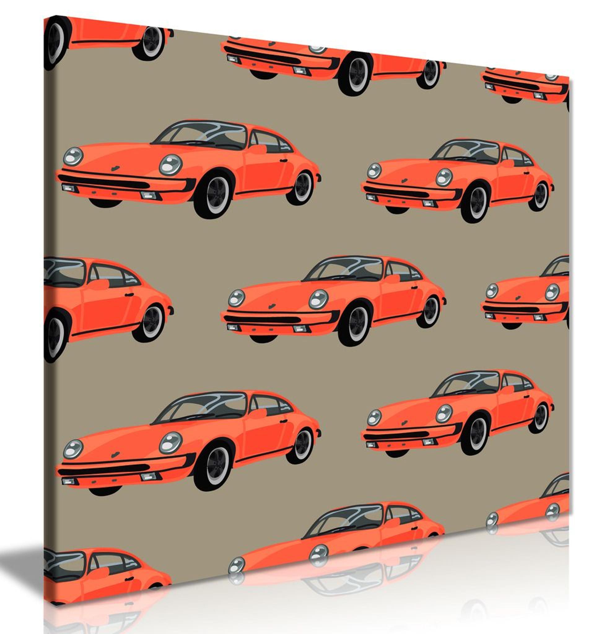 Retro Porsche 911 Car Modern Popart Canvas