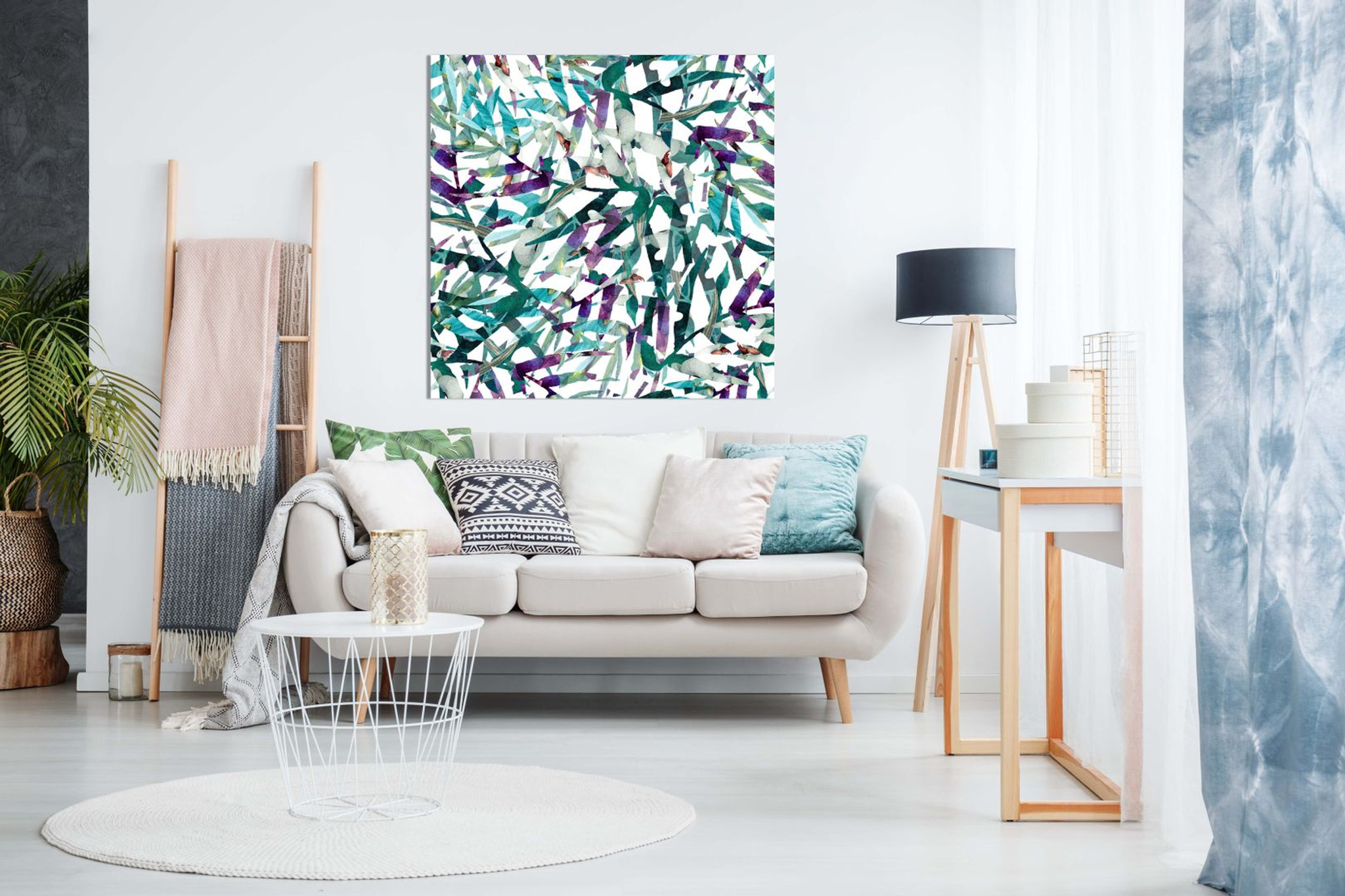 Abstract Leaves Pattern Canvas