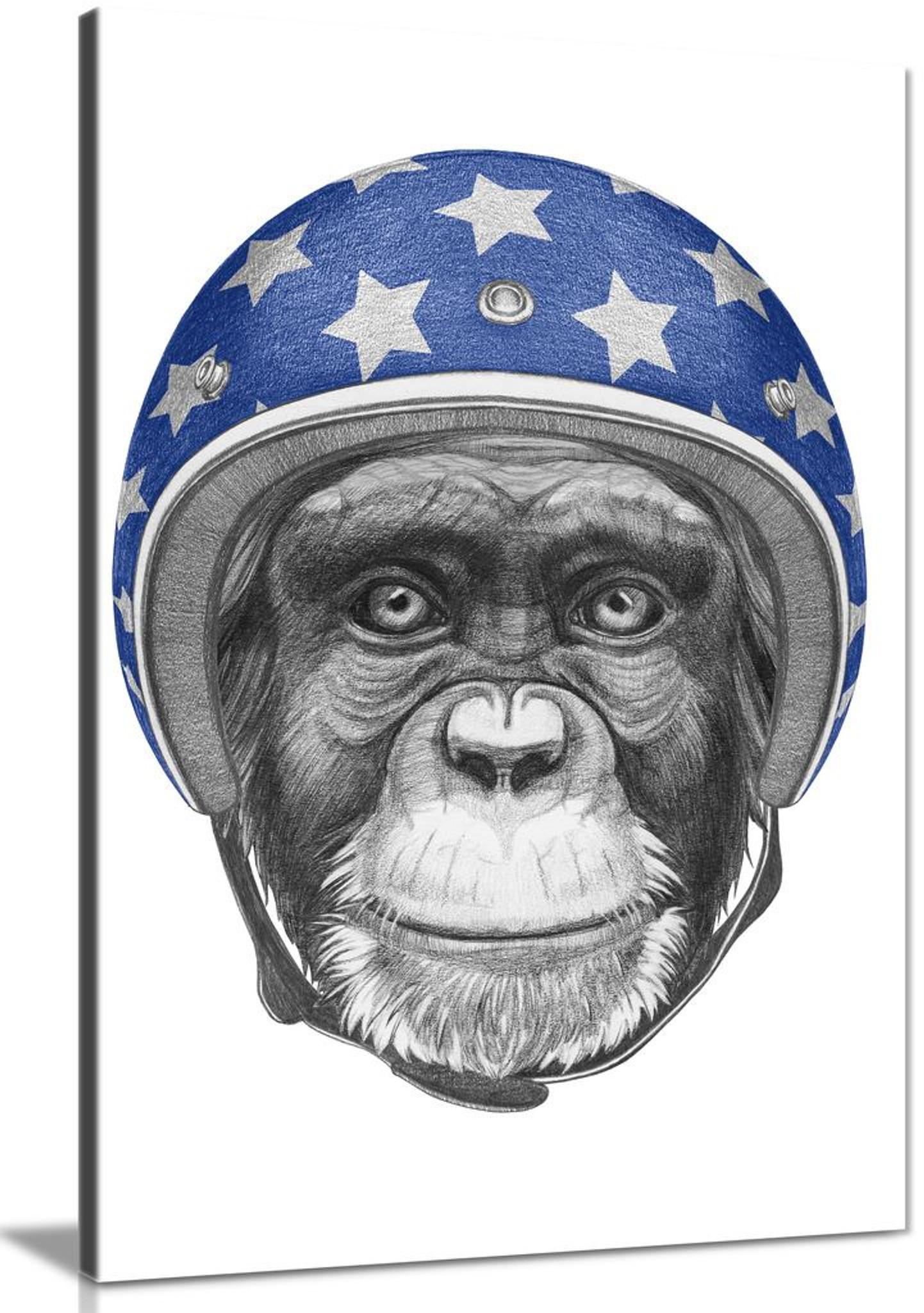 Modern Contemporary Monkey Drawing Pop Art Canvas