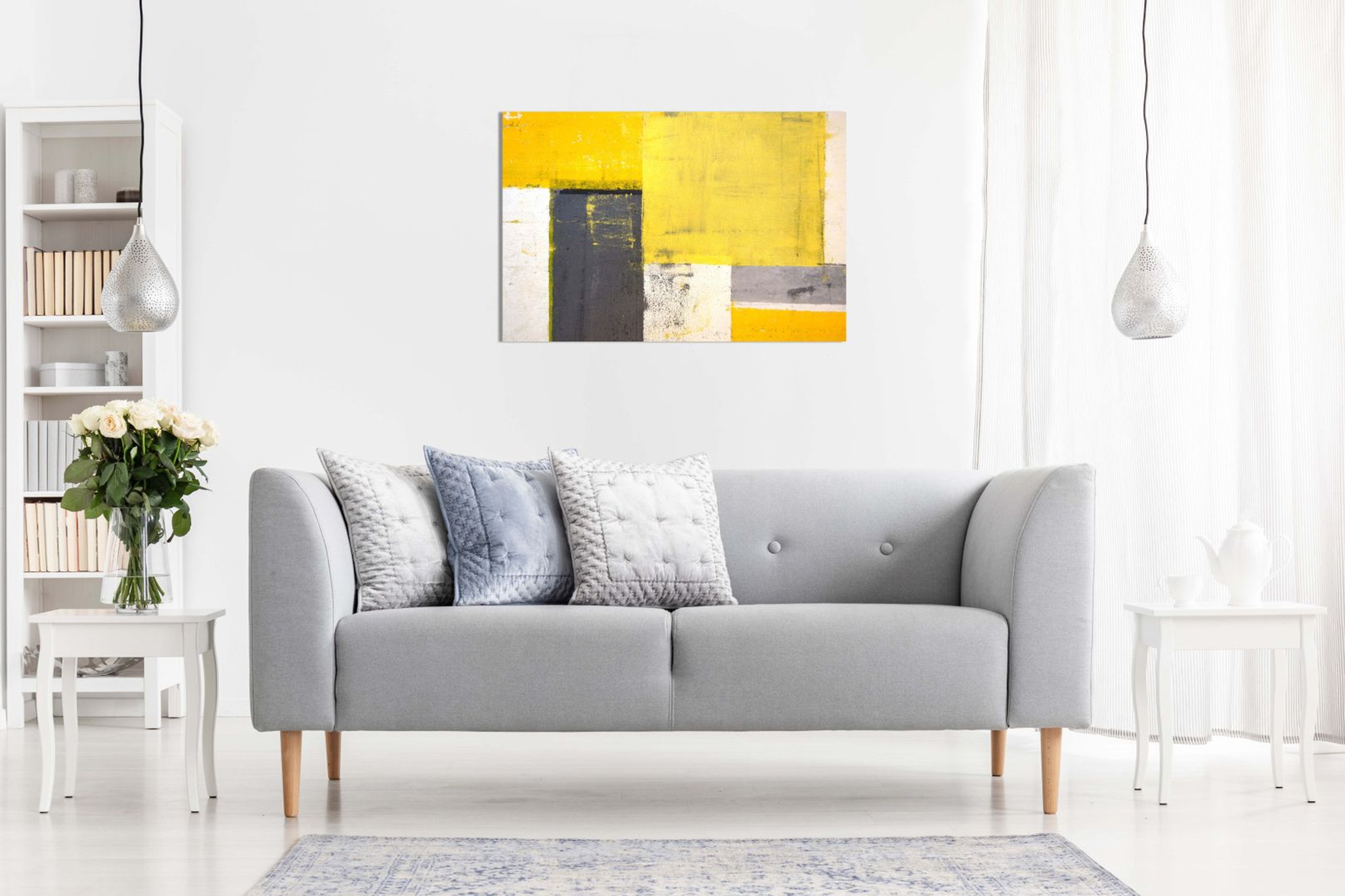 Abstract Modern Yellow & Grey Painting Canvas