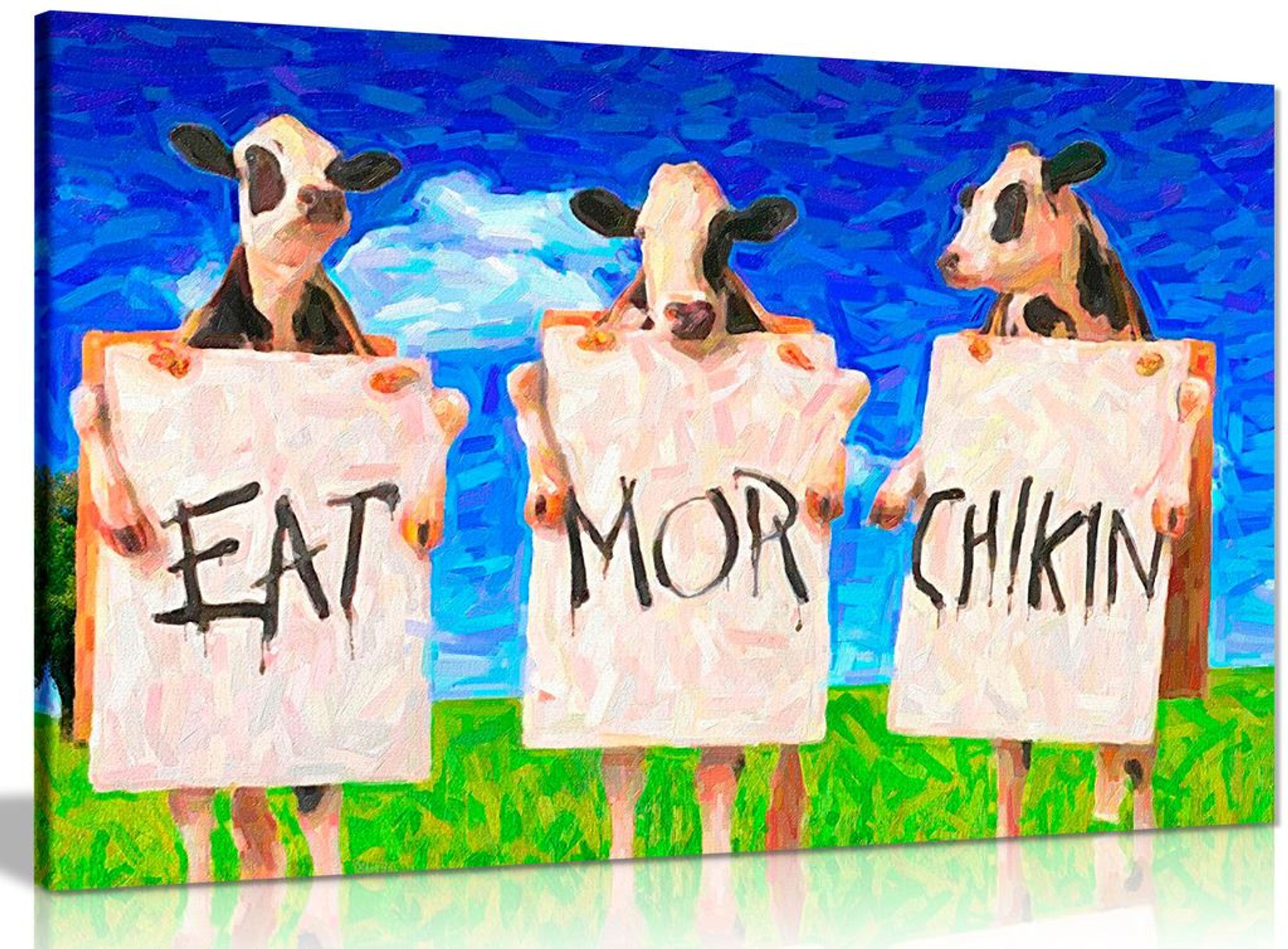 Cows Eat More Chicken Oil Painting Reproduction Canvas