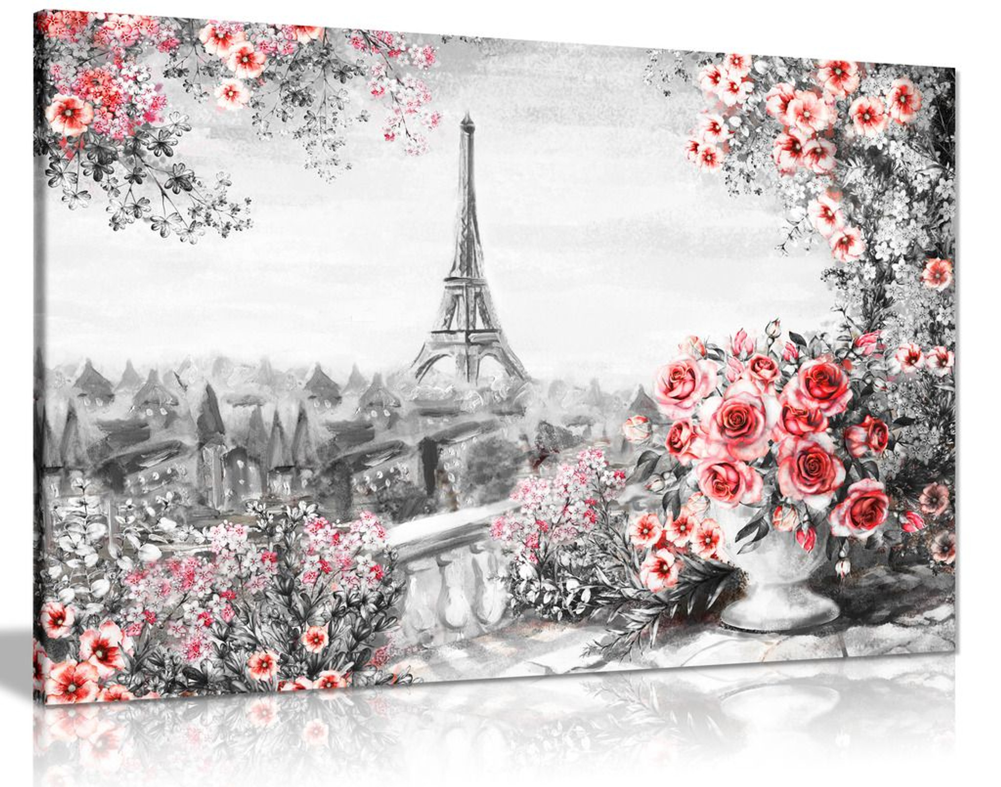 Paris Oil Painting Black White Red With Roses Canvas Canvas