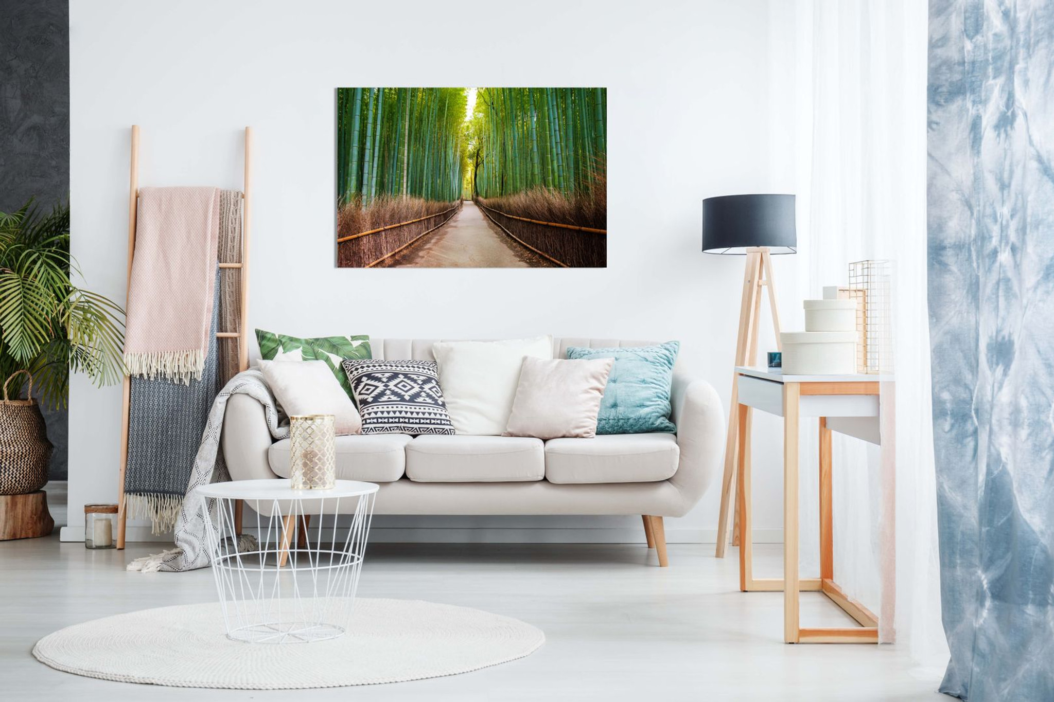 Bamboo Forest Japan Green Trees Landscape Canvas