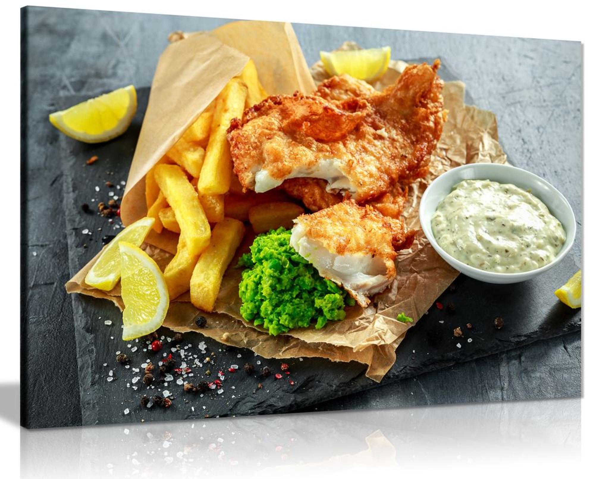 English Fish & Chips Shop Restaurant Food Canvas