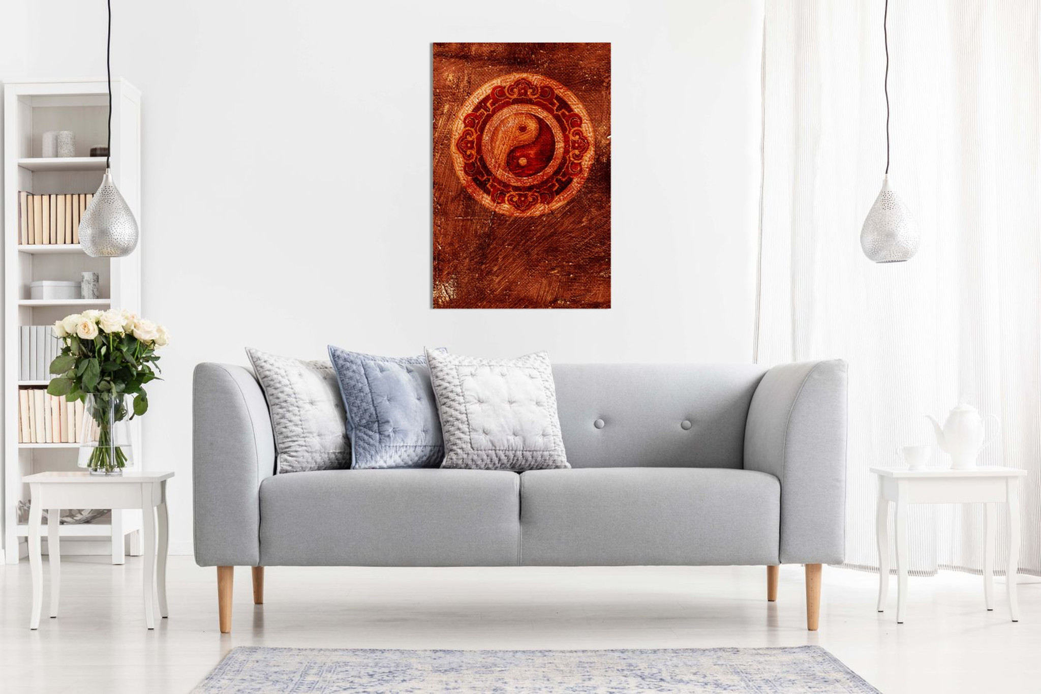 Red Ying Yang Chinese Painting Canvas