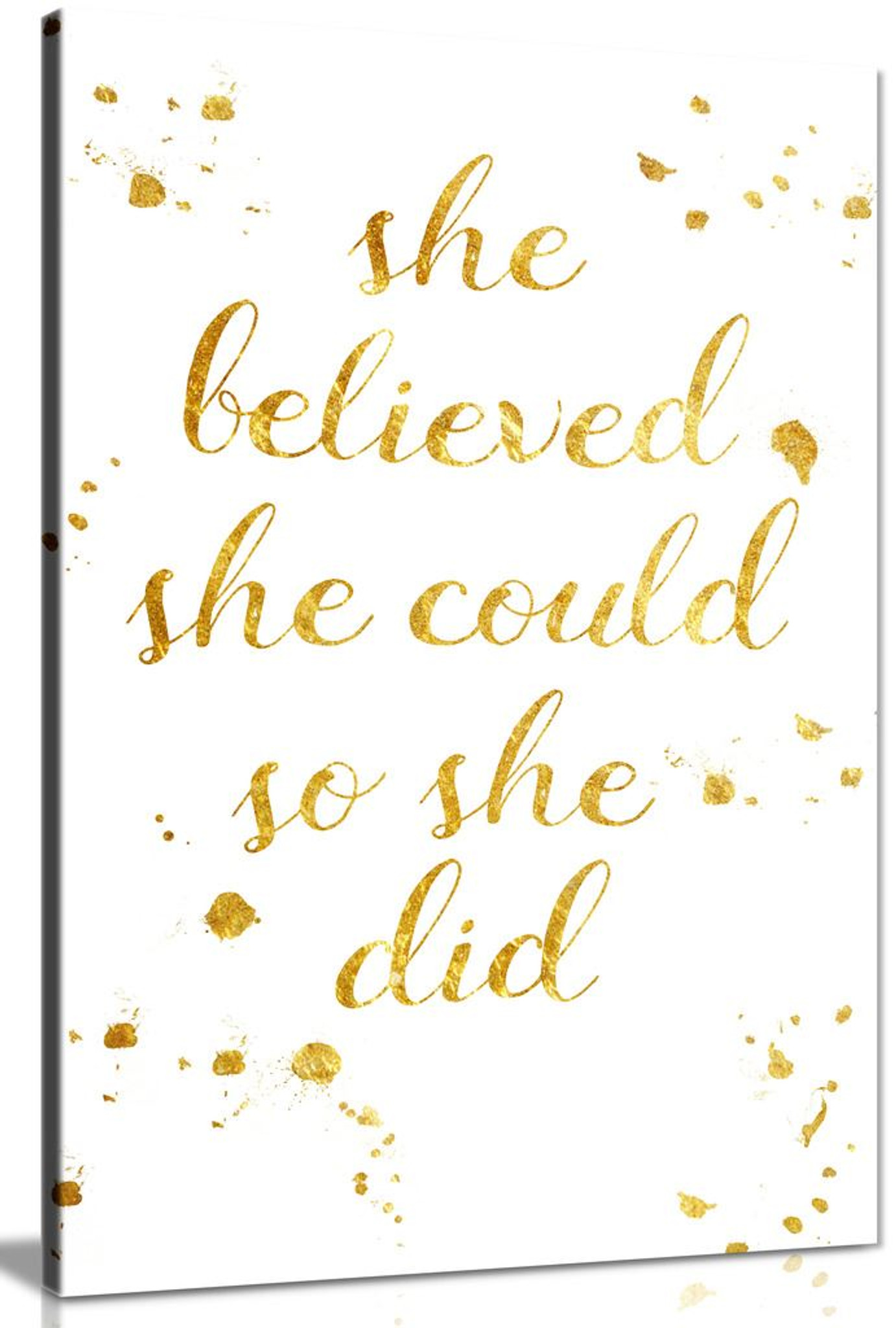 She Believed She Could So She Did Quote Inspirational Gift Canvas